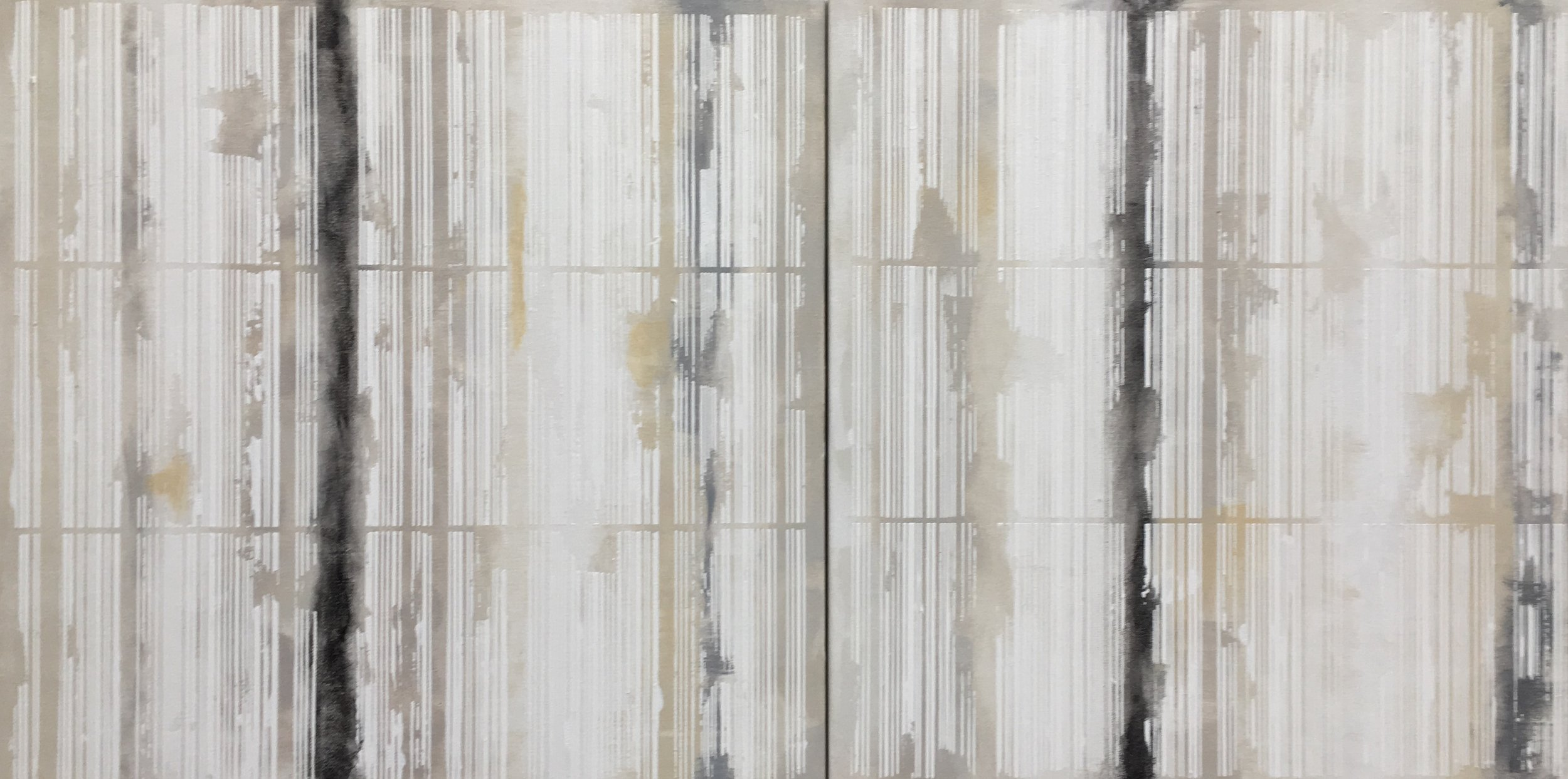 """Bar Code series, 2016. Acrylic on Canvas, 20"""" x 40"""" total dimension."""