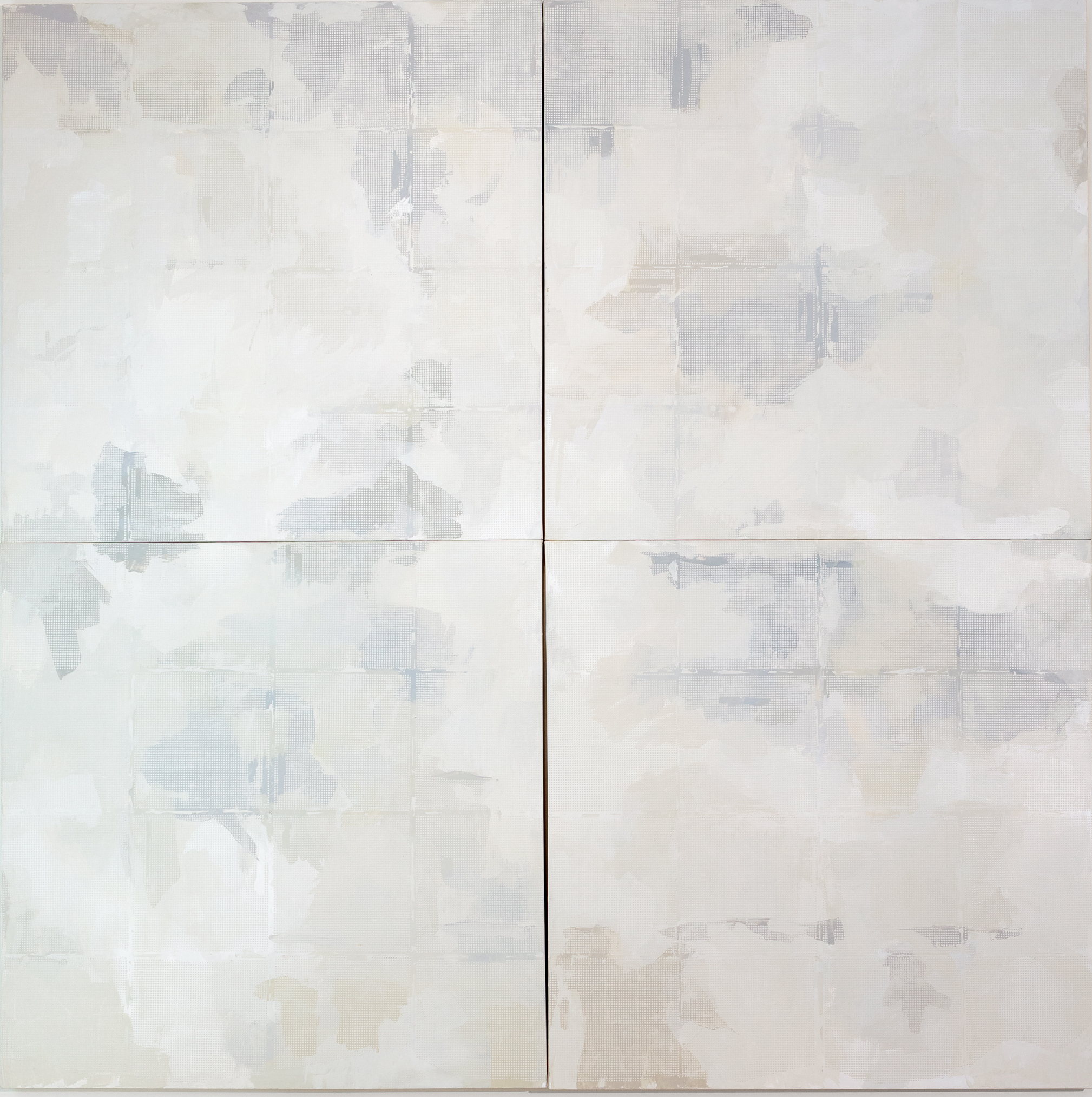 """Off the Grid, 4 canvas panels 48"""" x 48"""" 2016, 96 inches total dimension"""