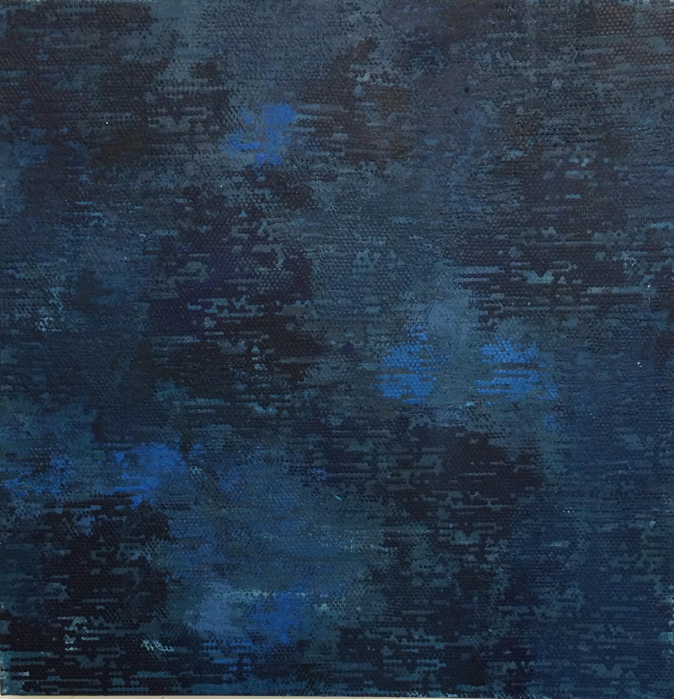 "Dark Blue Dot Matrix, 30""x30"", 2015"