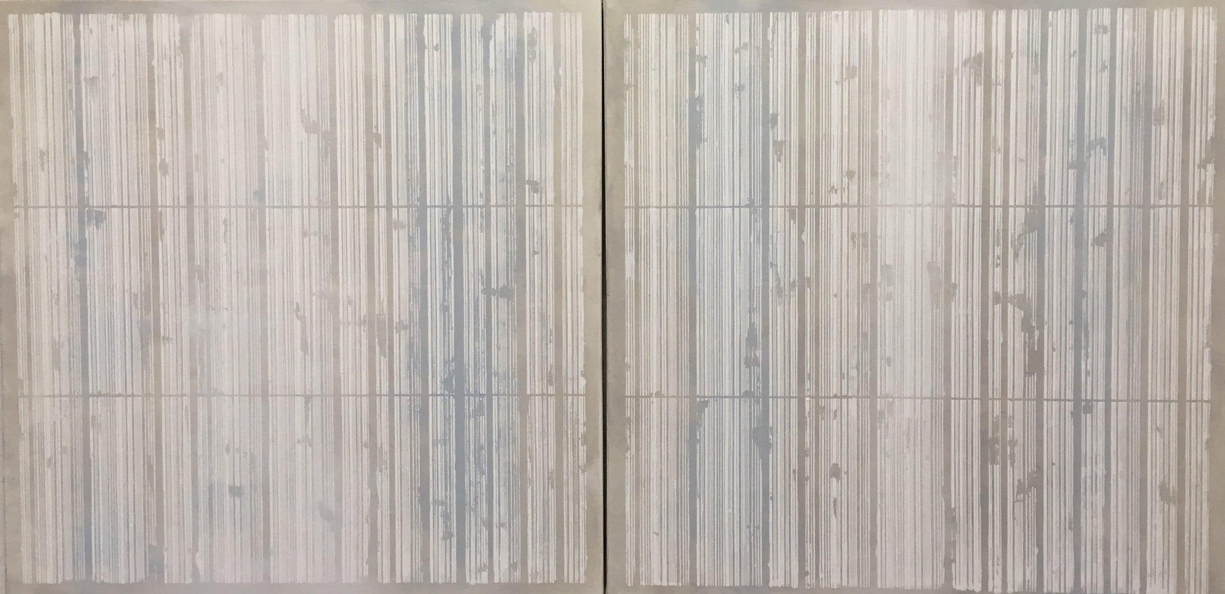 "Light blue and grey bar codes, 2 panels 36"" x 36"" each"
