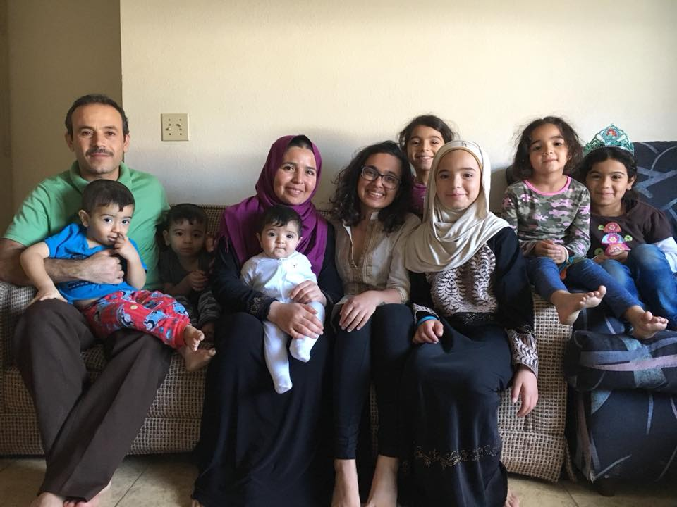 USC SOS tutor Mahima Verma enjoys with the Almayhid family in their home in El Cajon following an English tutoring session.