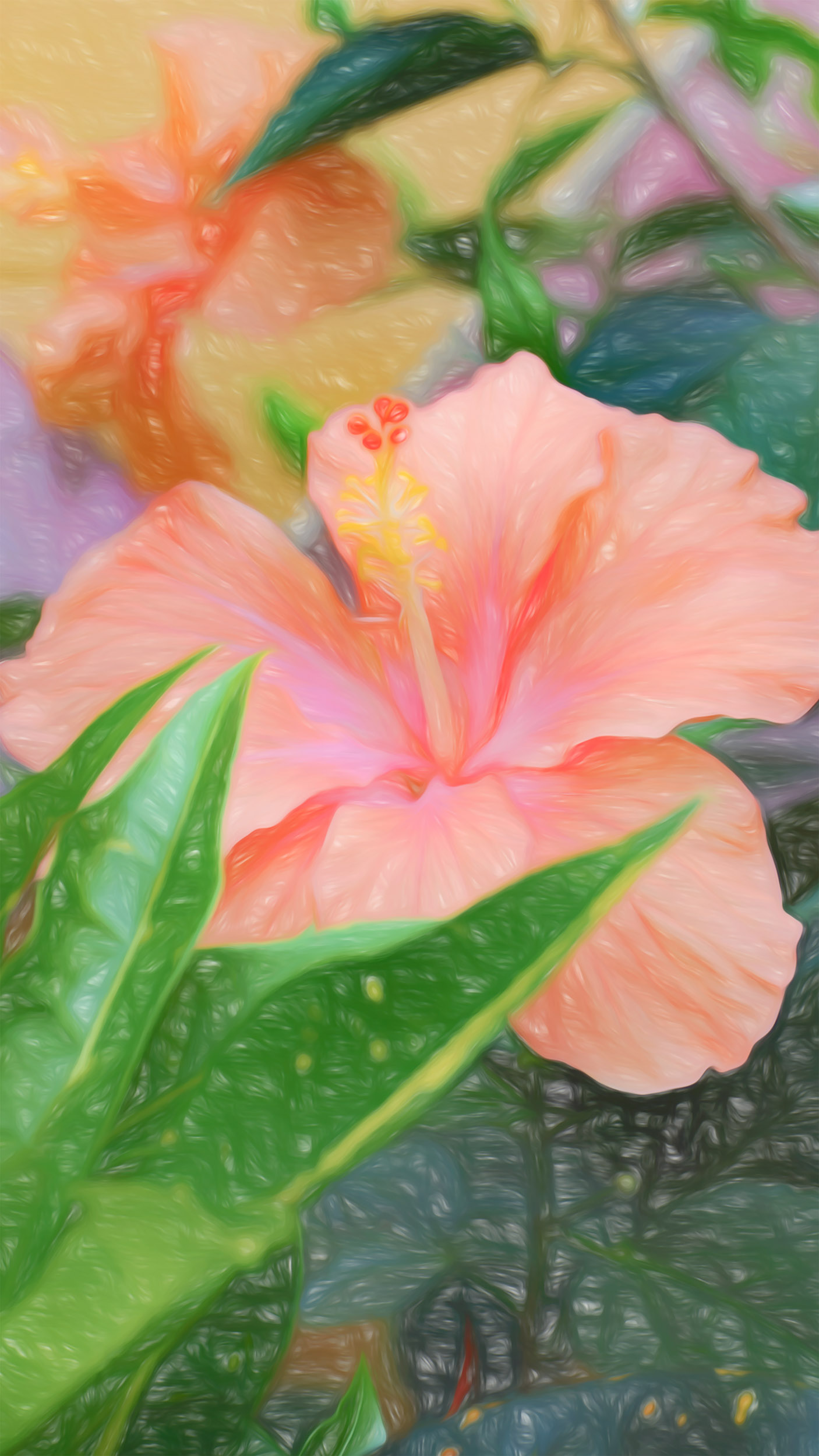 """Peach Hibiscus Narrowed"" - Photography Artist Kevin Sibbitt"