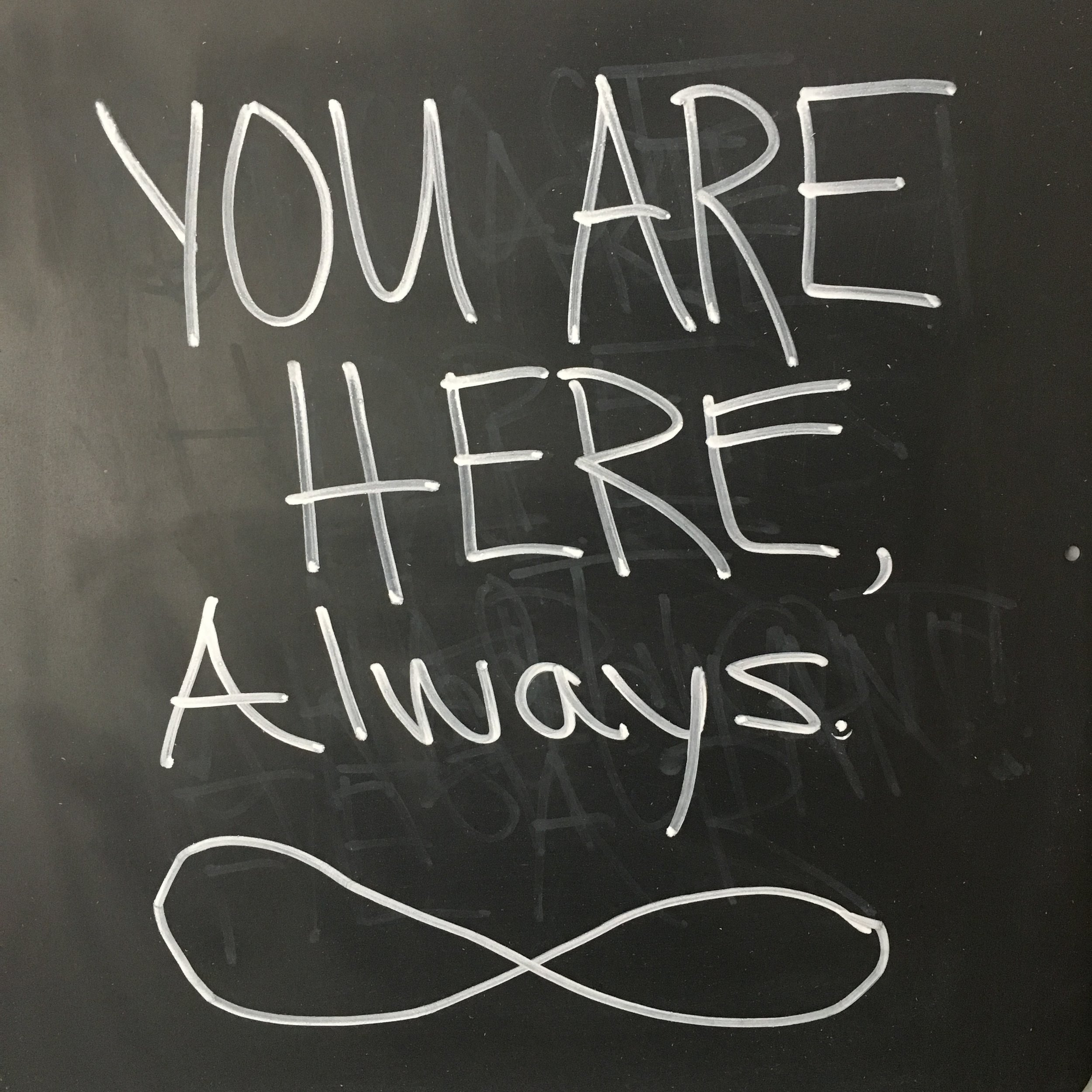 The infinity symbol on the chalkboard above my desk.