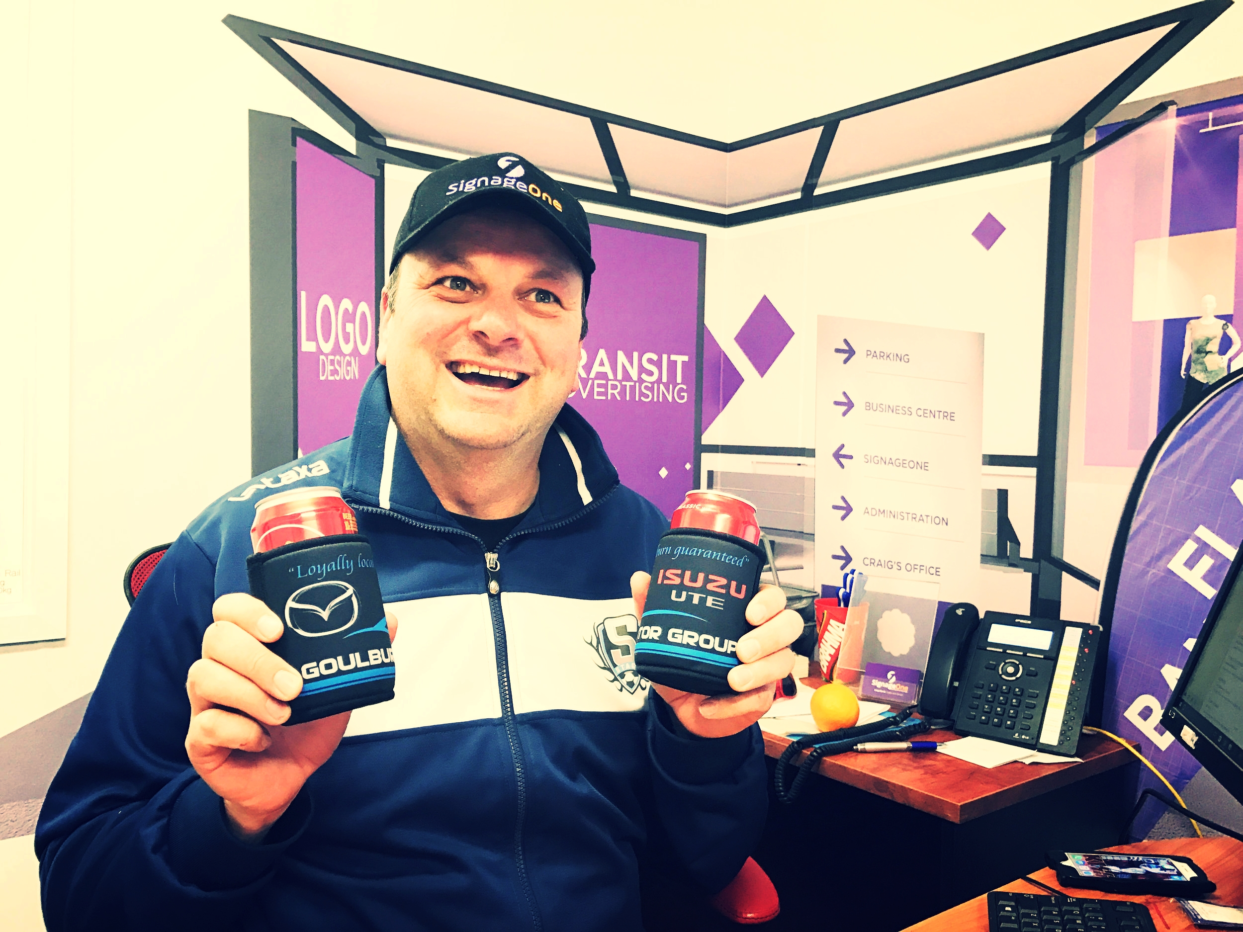 Stubby Holders   Craig Norris enjoyed this moment - finding his stubby coolers full!