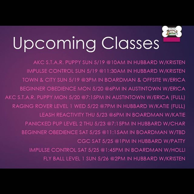 Upcoming classes!