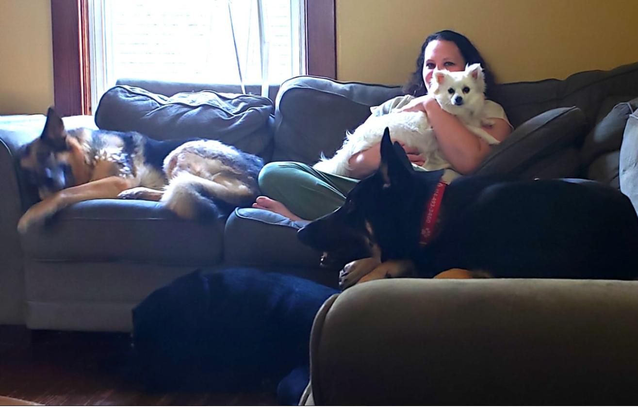 Liz with all 4 dogs