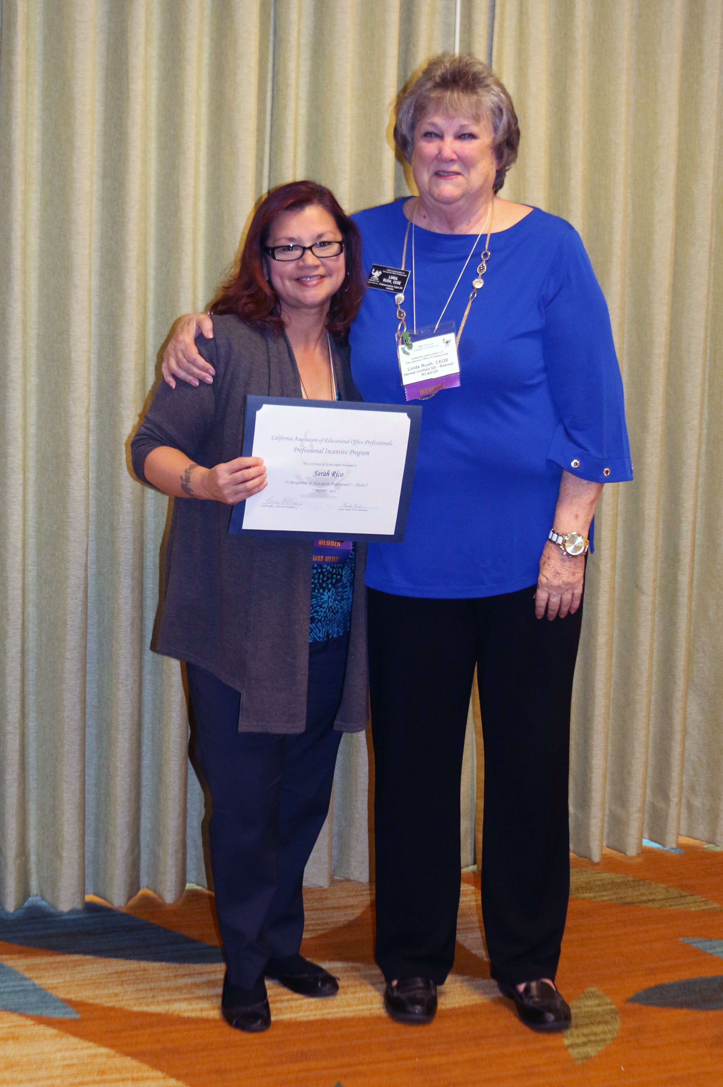 - Congratulations to Sarah Rico on earning your CAEOP Professional Incentive Program Associate Professional I, Track II certification!Thank you, Linda Rush, for your continuous inspiration and setting an example for all educational office professionals.