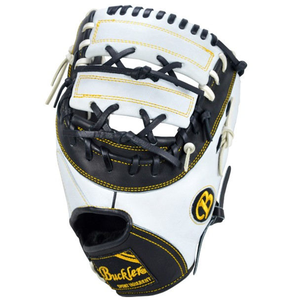 This first base mitt is a custom design that uses the double-bar web by Buckler Sports.