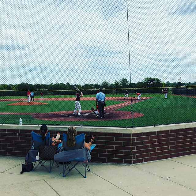 This @grandparksports complex is impressive and they saved me the best seats! Watching some baseball with this kid!