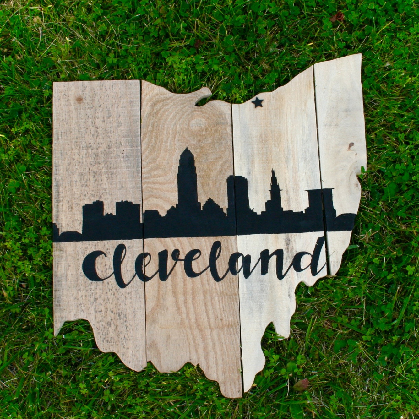 Raw Wood Cleveland Skyline