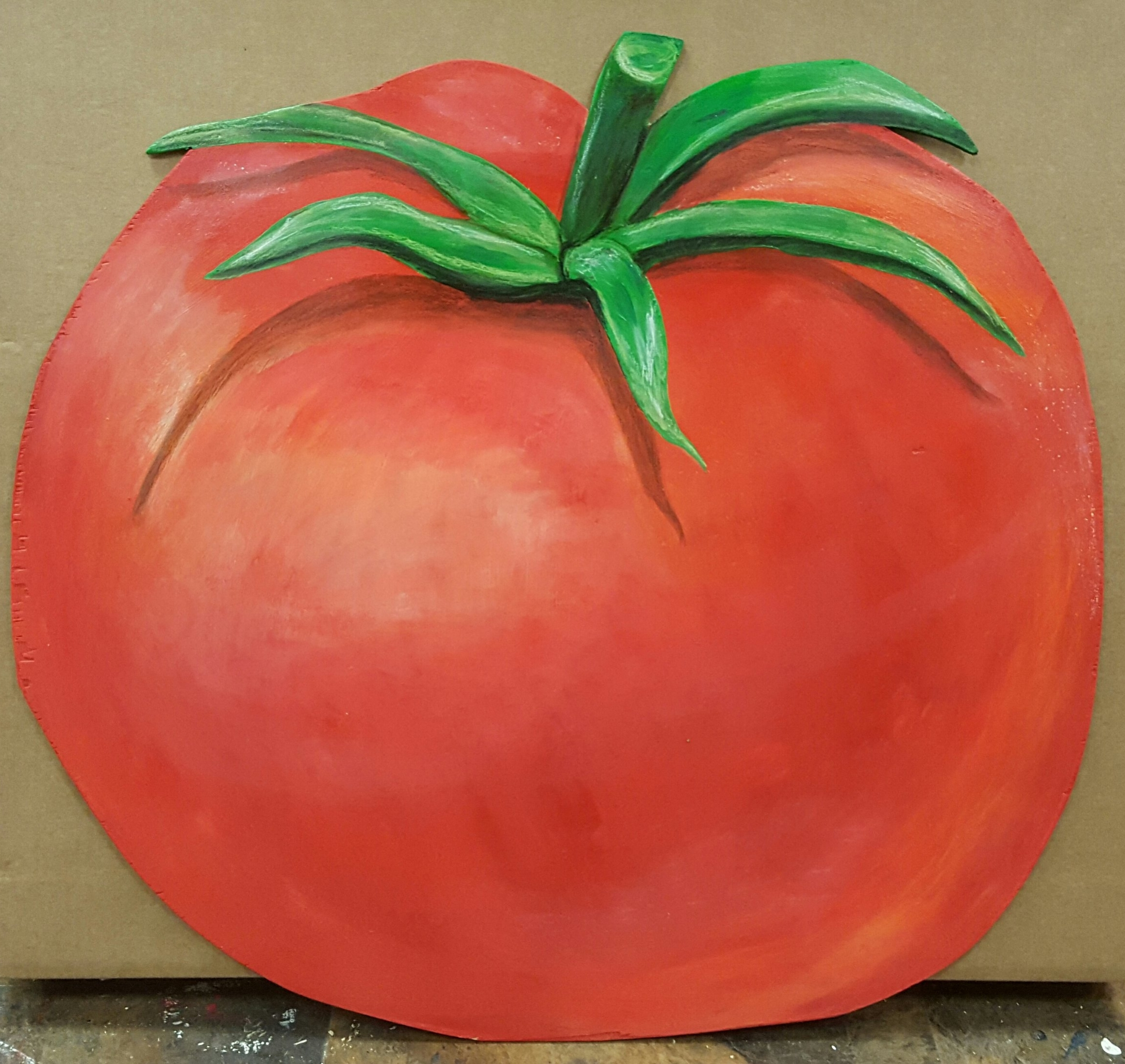 life size tomato wooden cutout painted with acrylic & neocolor
