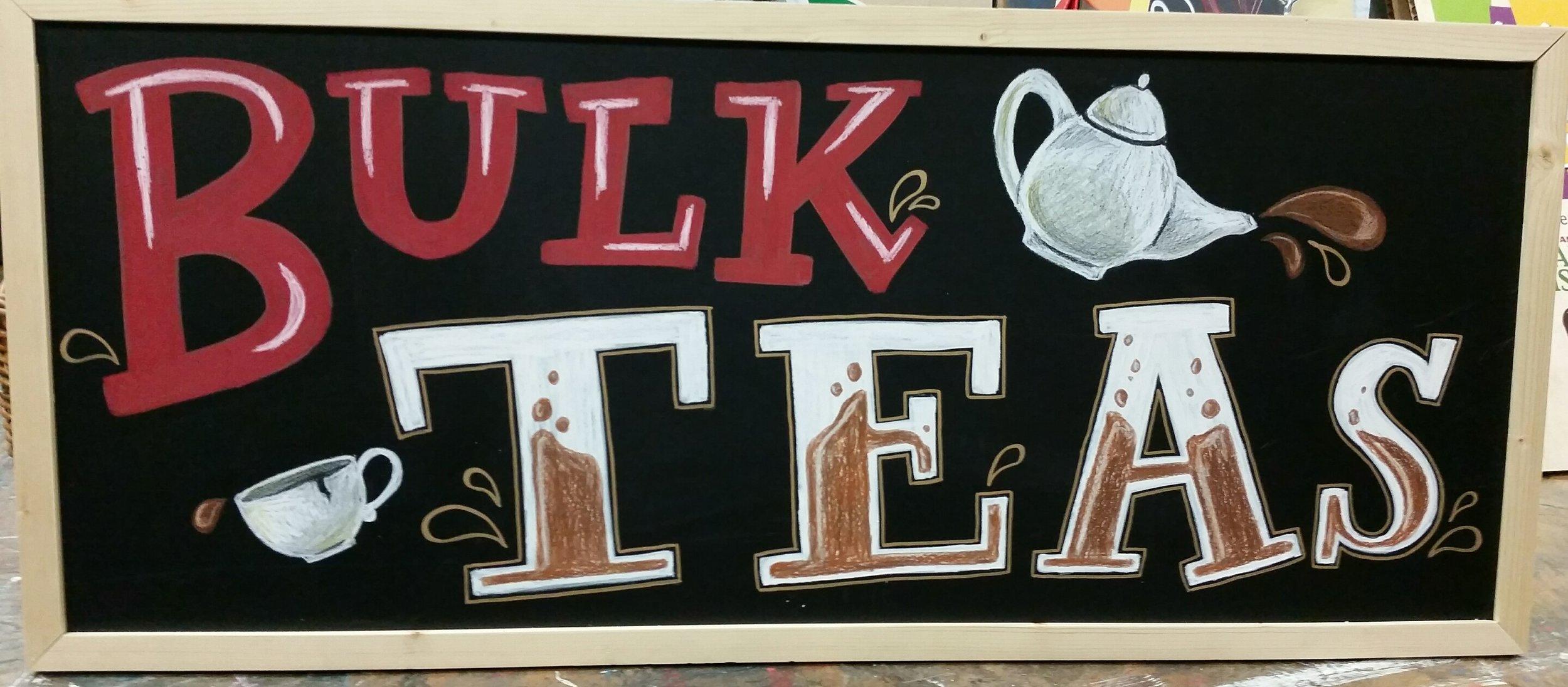 Bulk tea chalkboard inside the strongsville market district in ohio