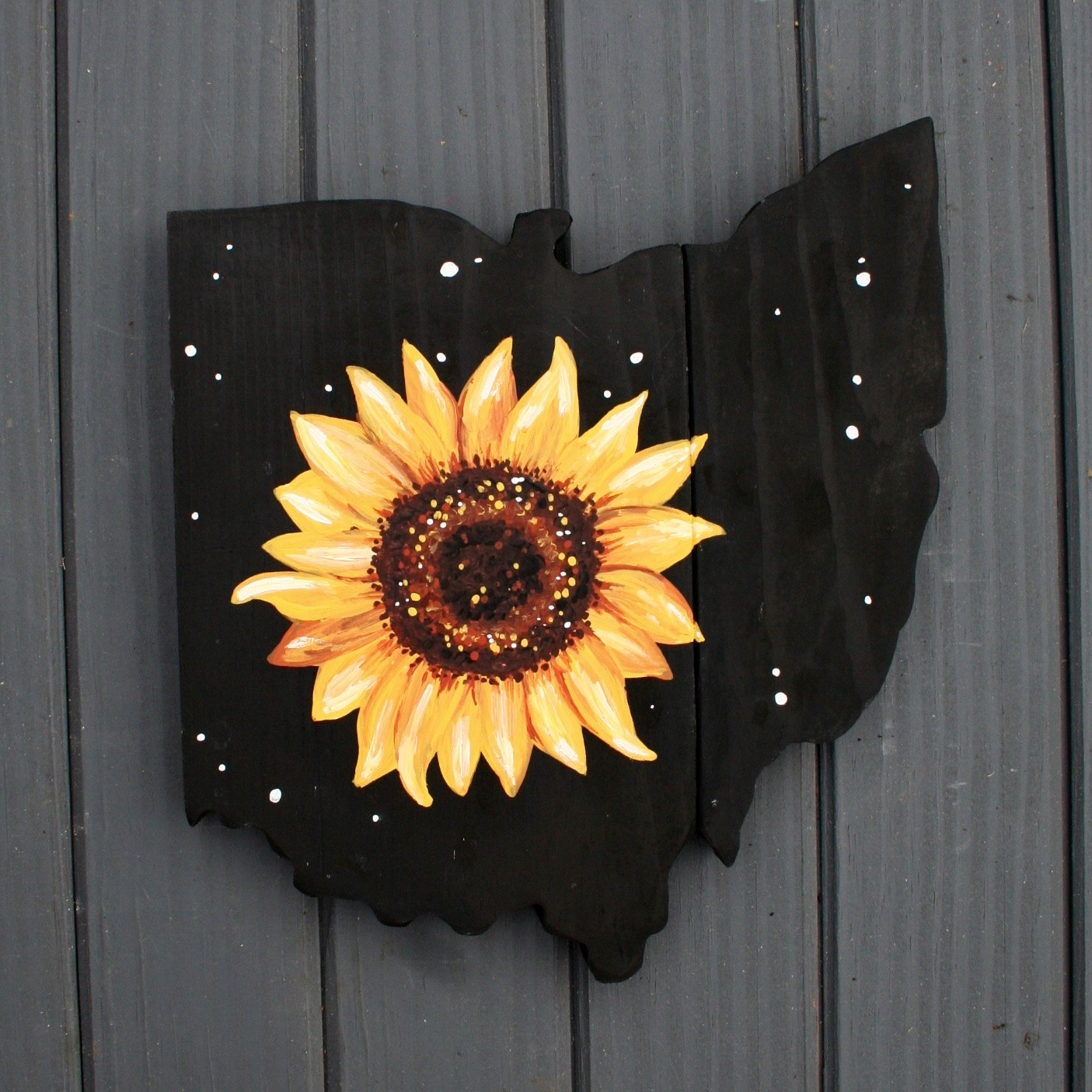 Original painted Sunflower on an ohio plaque