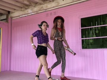 Two Women and Pink Wall.JPG