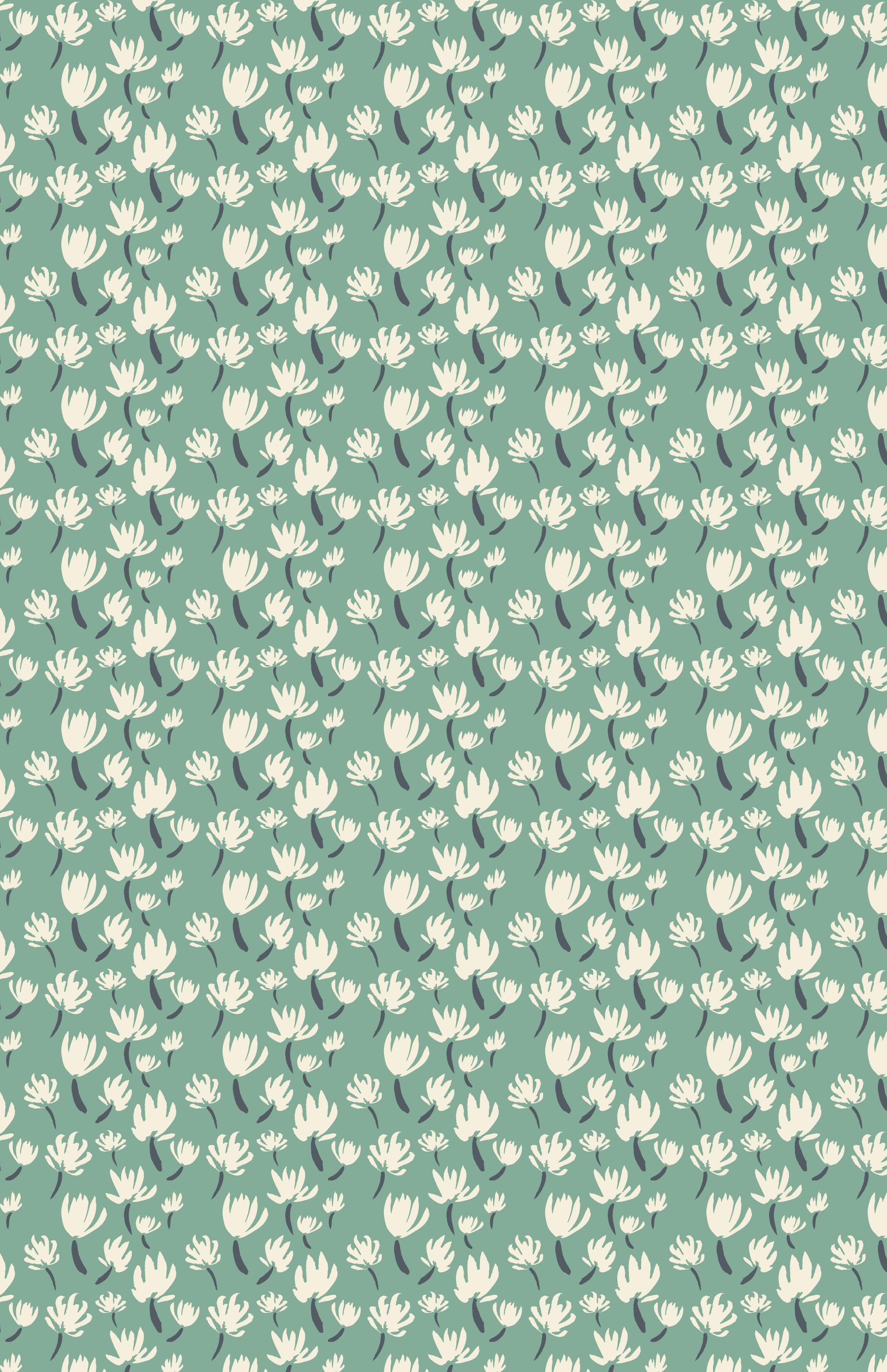 Dandelions. ink and digital repeating pattern.