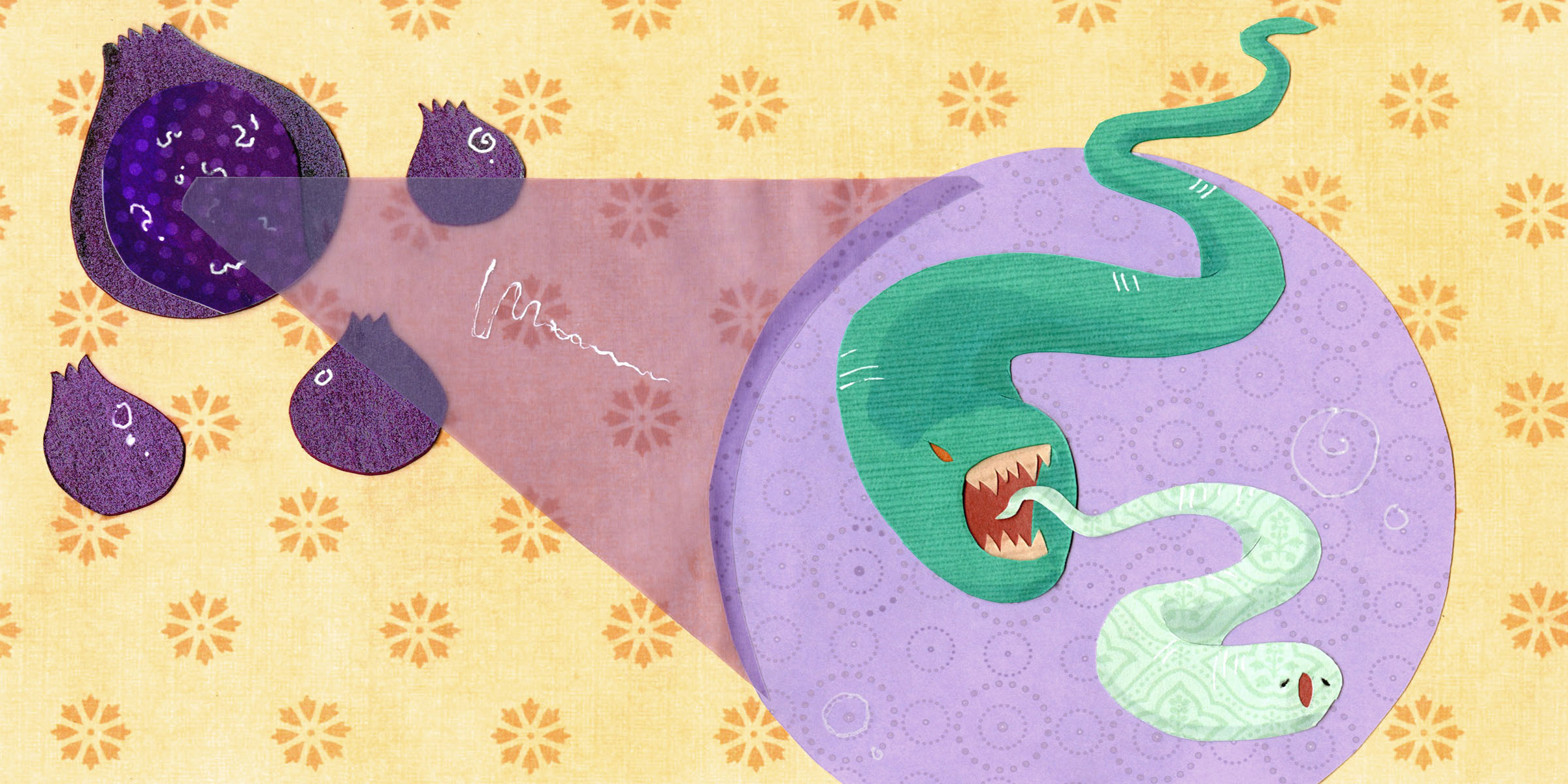 nematodes. paper-cut illustration.