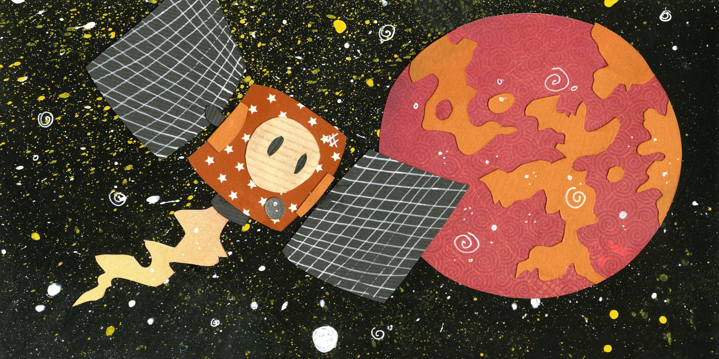 akatsuki spacecraft. paper-cut illustration.