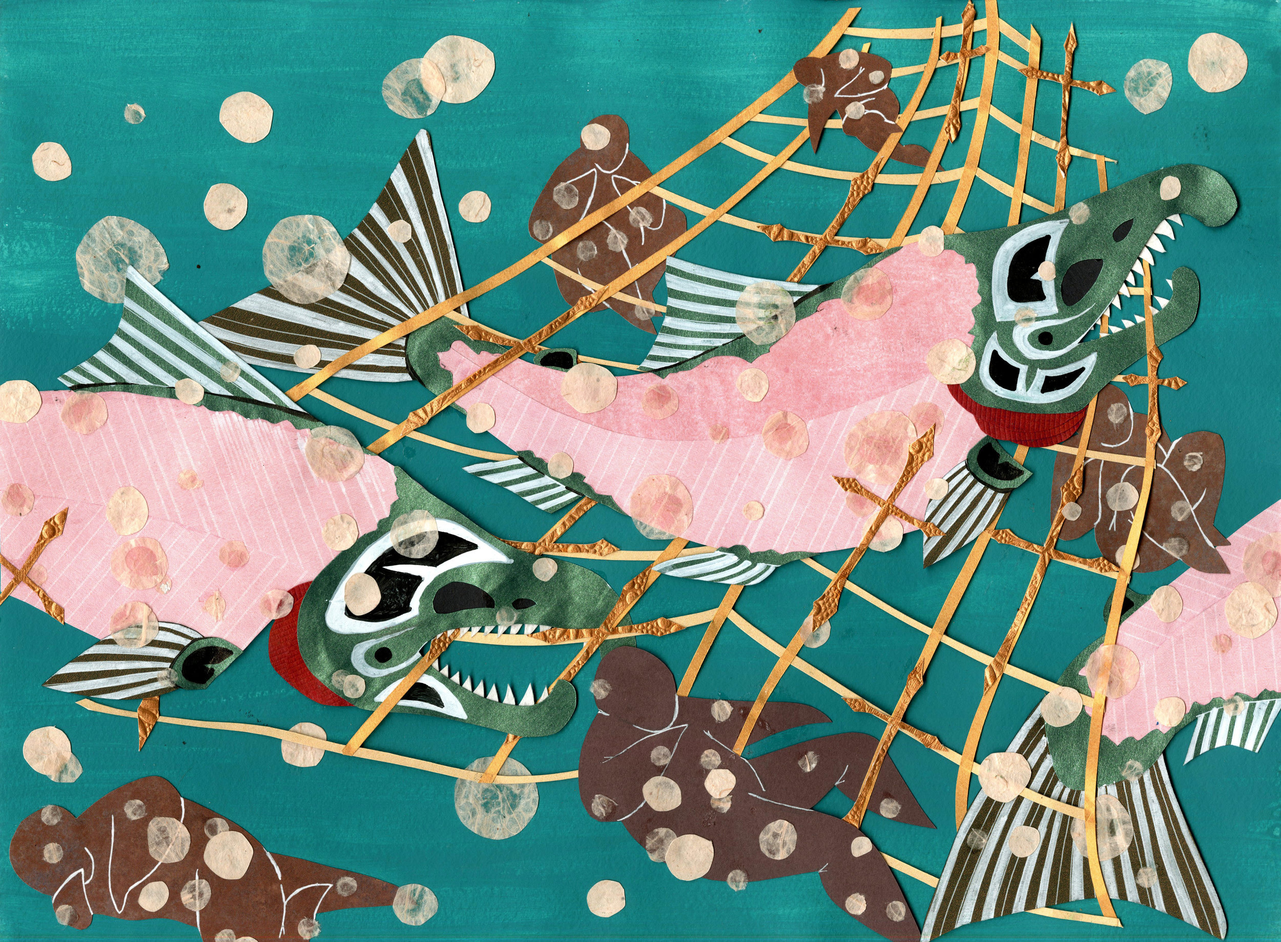 Tlingit salmon. paper-cut illustration.