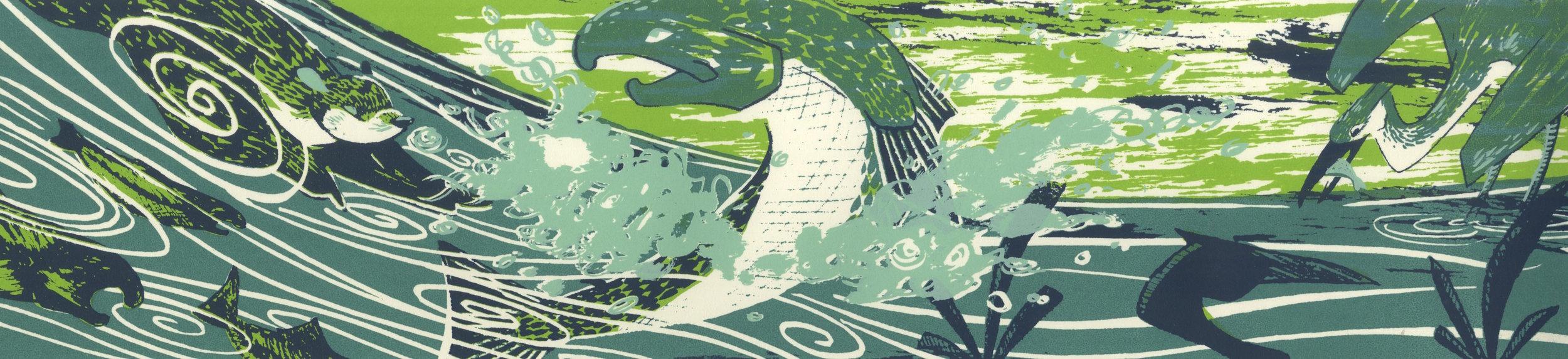 River. Four-layer screen print.