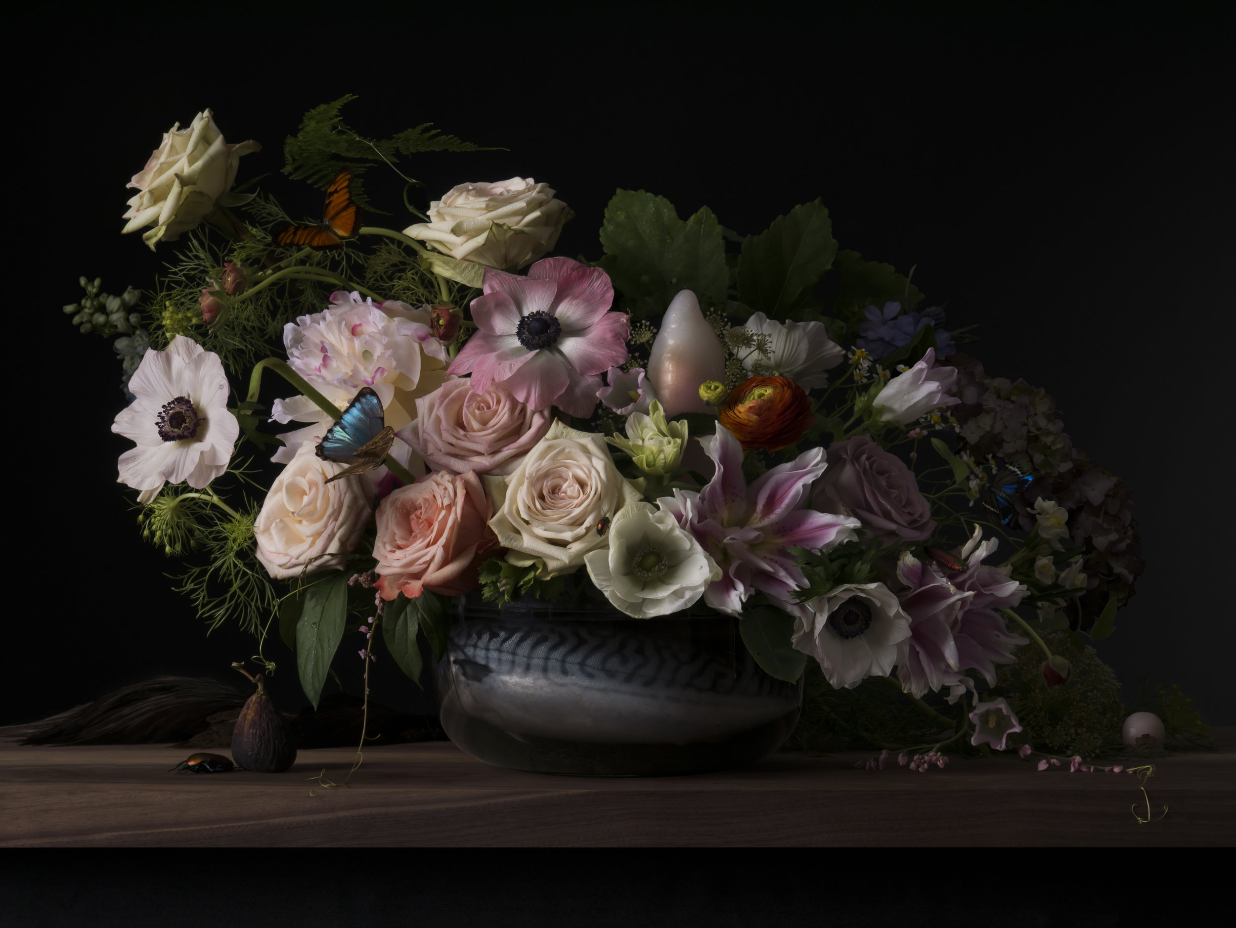 Houston, TX based artist Margaux Crump, courtesy of the artist. Still life with roses, flowers, beetles, butterflies.