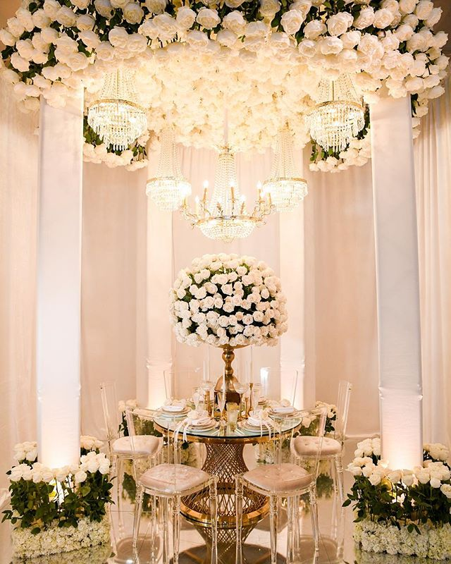Surrounded by the {purest white roses}. Gorgeous booth design by @loveitevents ❤️ Photo: @armenphoto | Florals: @petalsla | Rentals @rentalavenue for #idobridalevent