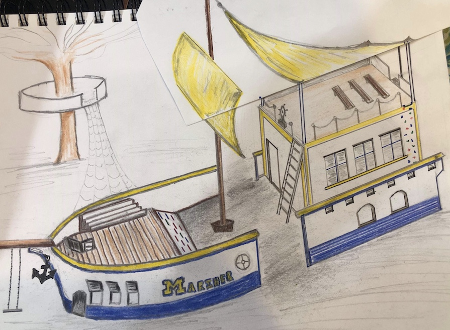 Artist rendering of the Mariner Eco-Library to begin construction November 2019.