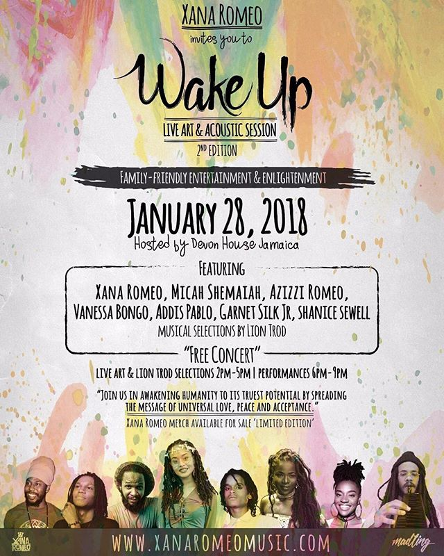 Sunday January 28, 2018, inside @devonhouseja we invite you to Wake Up! Acoustic & Live Art session. 2-9pm, Admission #Free so feel free to take the entire family along 😁. With performance from myself and @micahshemaiahmusic @addispablo @vbongo @azizziromeo @garnetjrmusic @theofficialshanicesewell. Musical selections by my brother @LionTrod. Family-friendly entertainment & enlightenment ✨🎨: @ma_ting