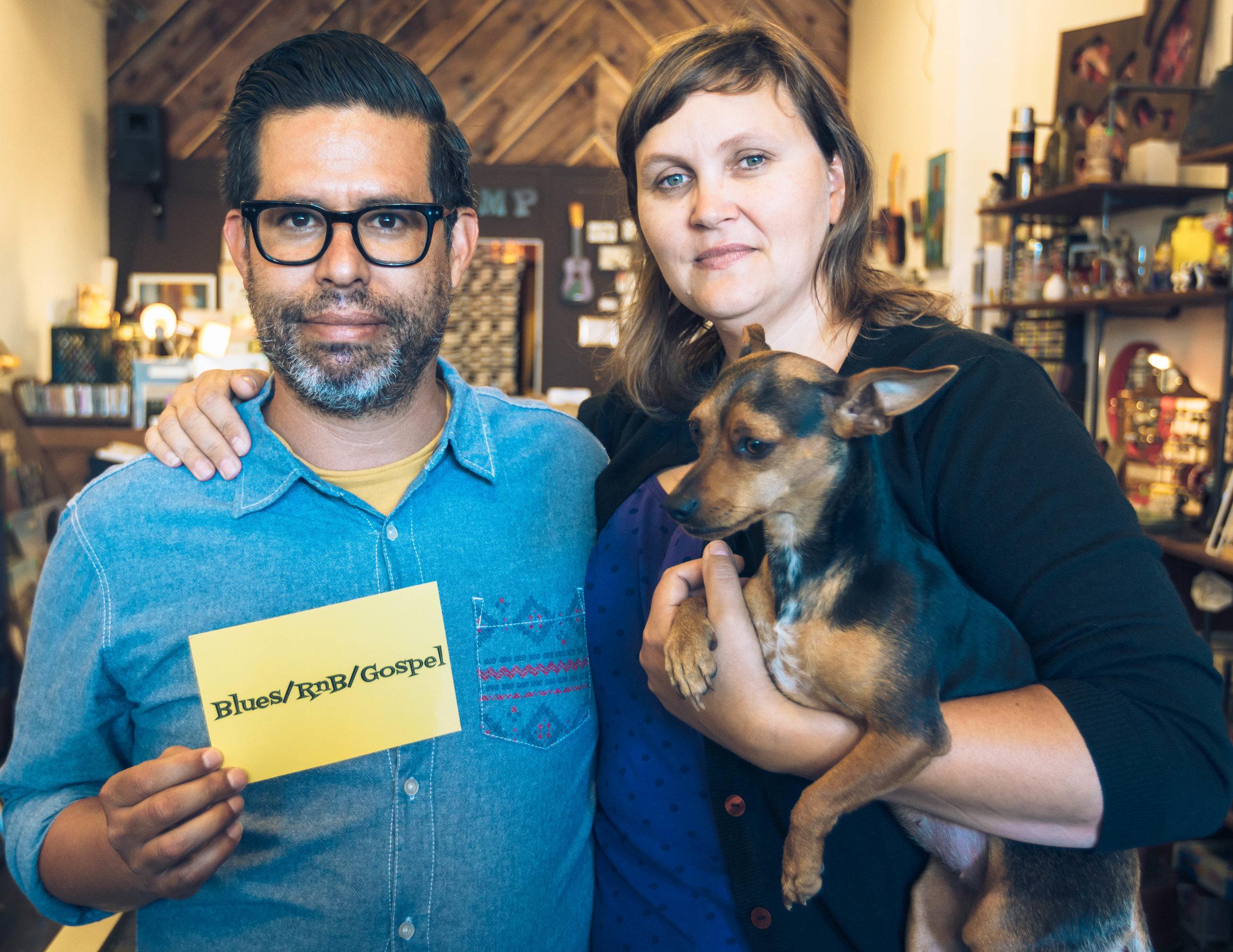 The VAMP shopkeepers:Fernando Carpenter, Tracy Parker & their dog, Maxine