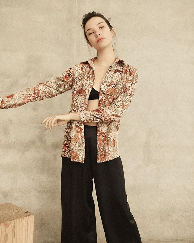 the 'winter' classic shirt and wide leg pants in black sandwashed satin ~ 100% silk ~ made in sydney annie-hamilton.com