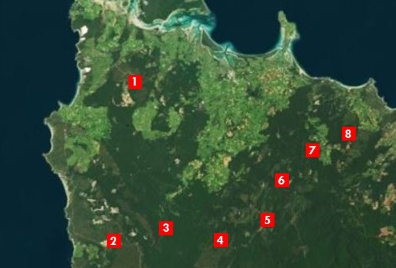 Our study sites in northwestern Tasmania: (1) Woolnorth, (2) Wuthering Heights, (3) Blackwater, (4) Sumac Road, (5) Milkshake Hills, (6) Wedge Plains, (7) Dip River, and (8) New Haven.