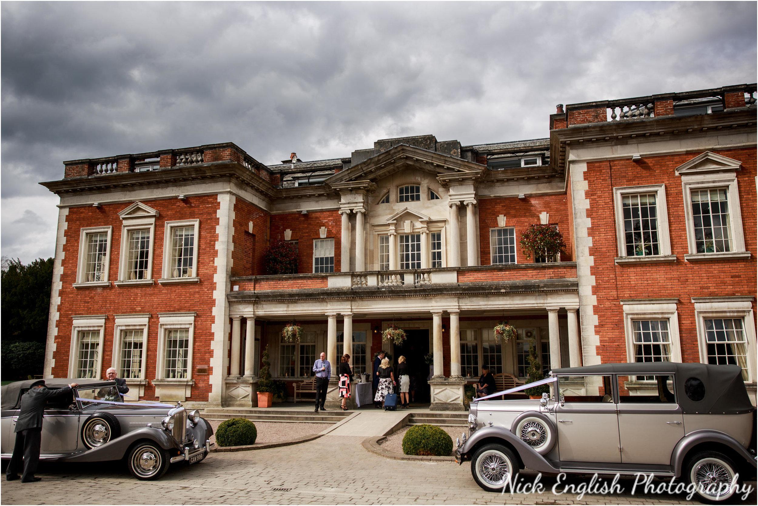 Wedding cars outside Eaves Hall