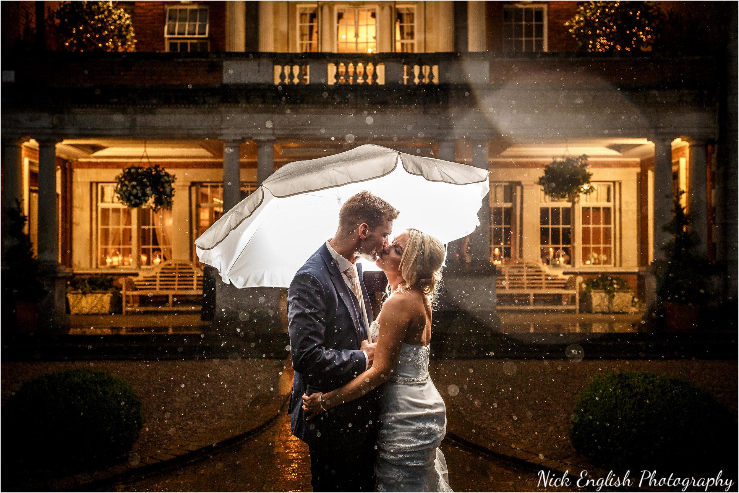 Eaves Hall Wedding Photoghraphy in the rain