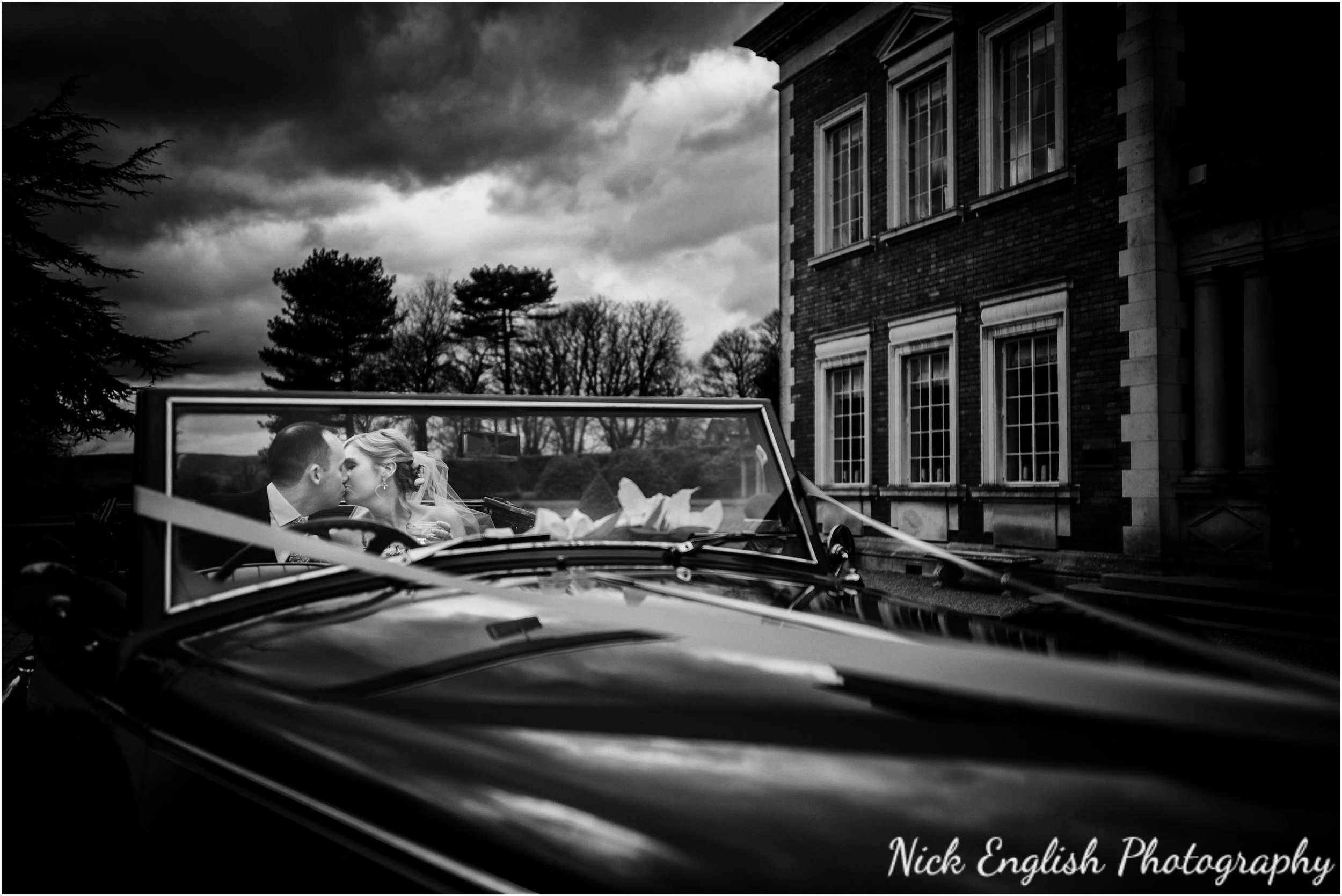 Bride and Groom arriving at Eaves Hall