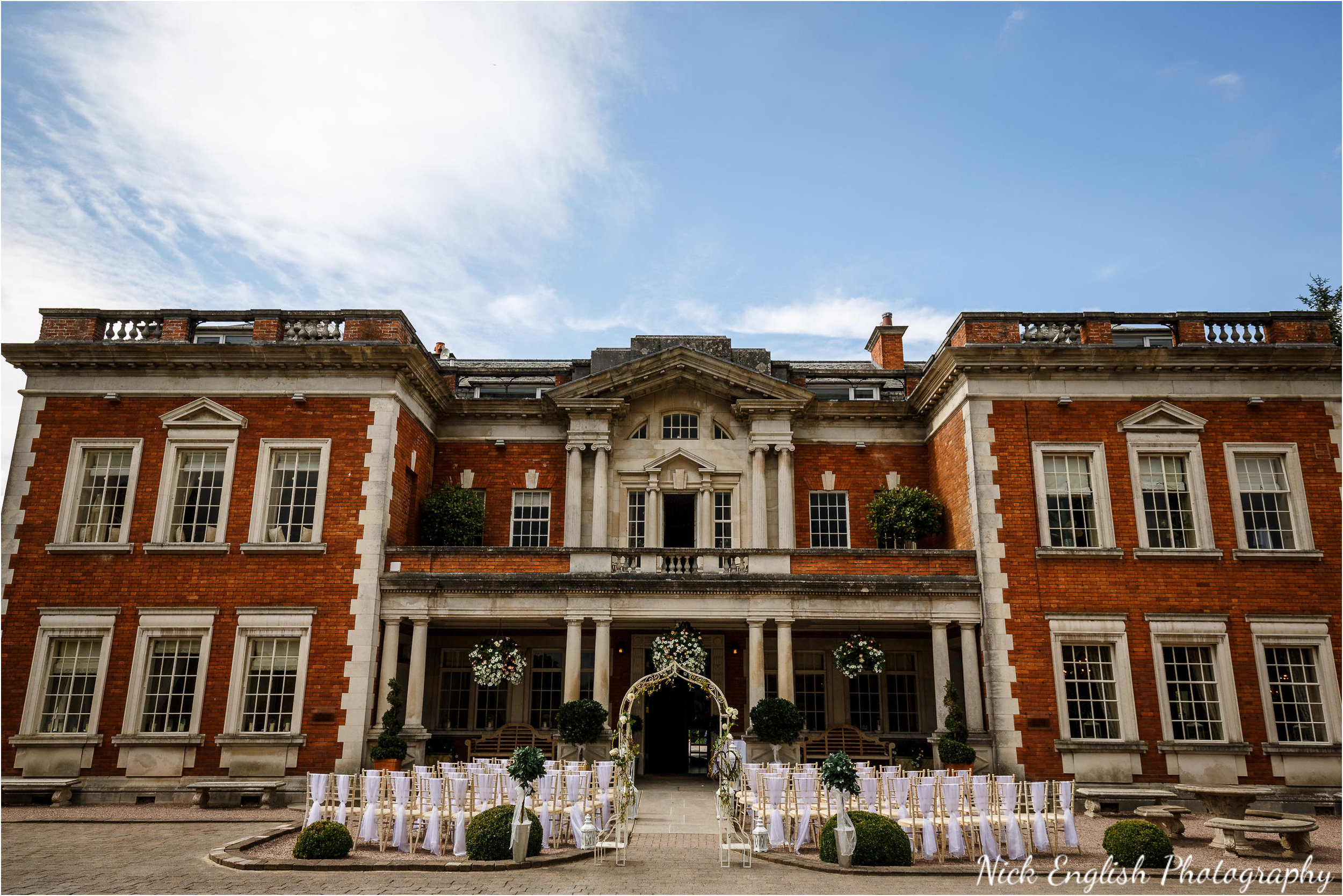 Eaves Hall set up for an outdoor wedding