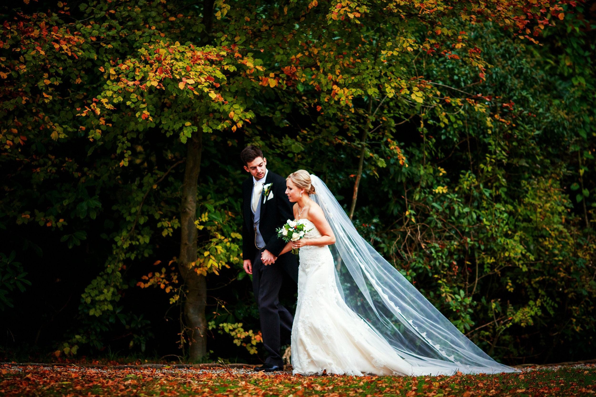 Mitton Hall Bride autumn wedding walk