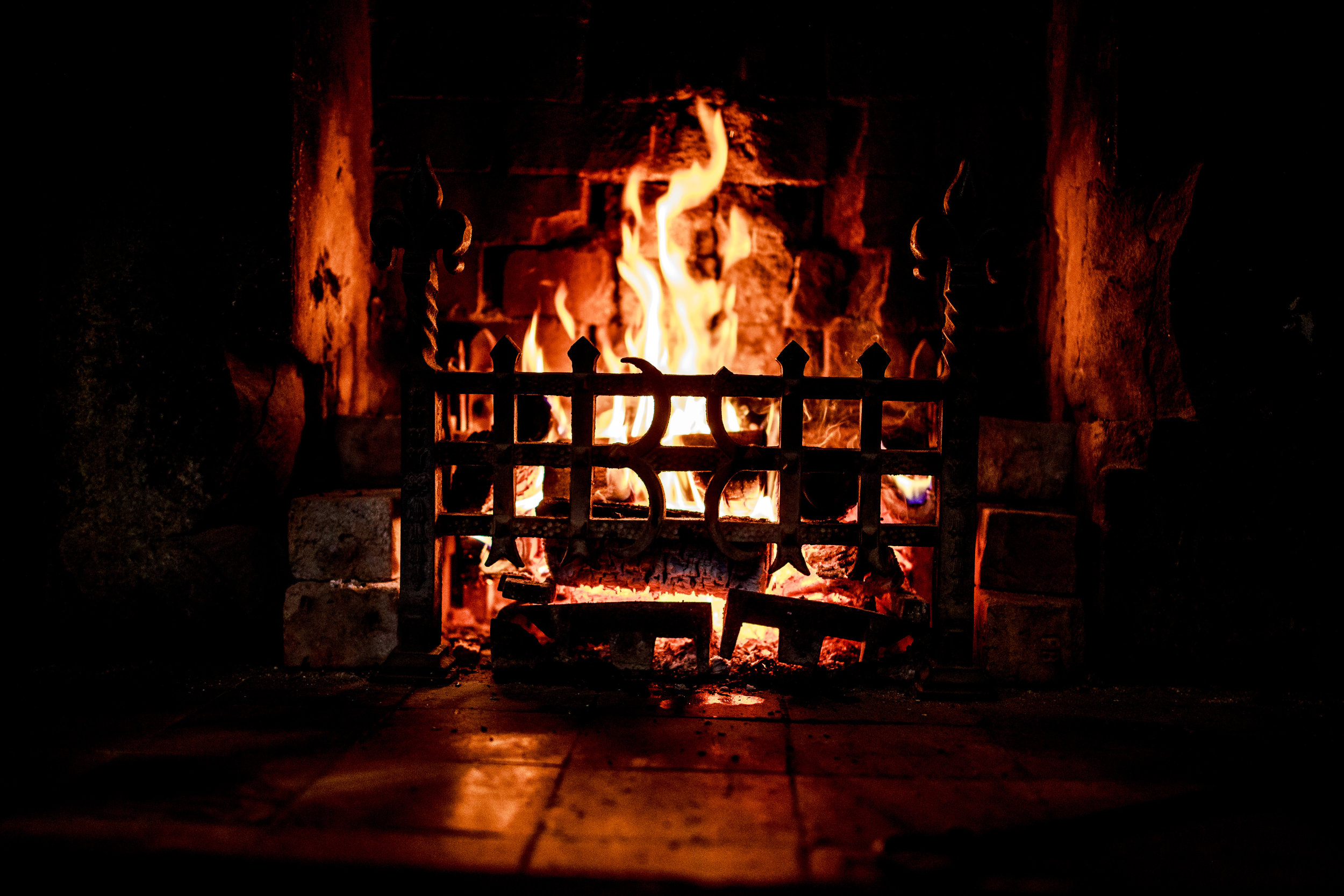 The main open fireplace at Mitton Hall in reception - lovely in Winter!