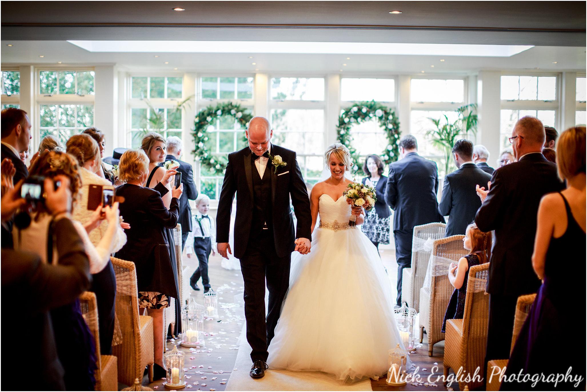 Mitton Hall Wedding Ceremony Bride Groom aisle