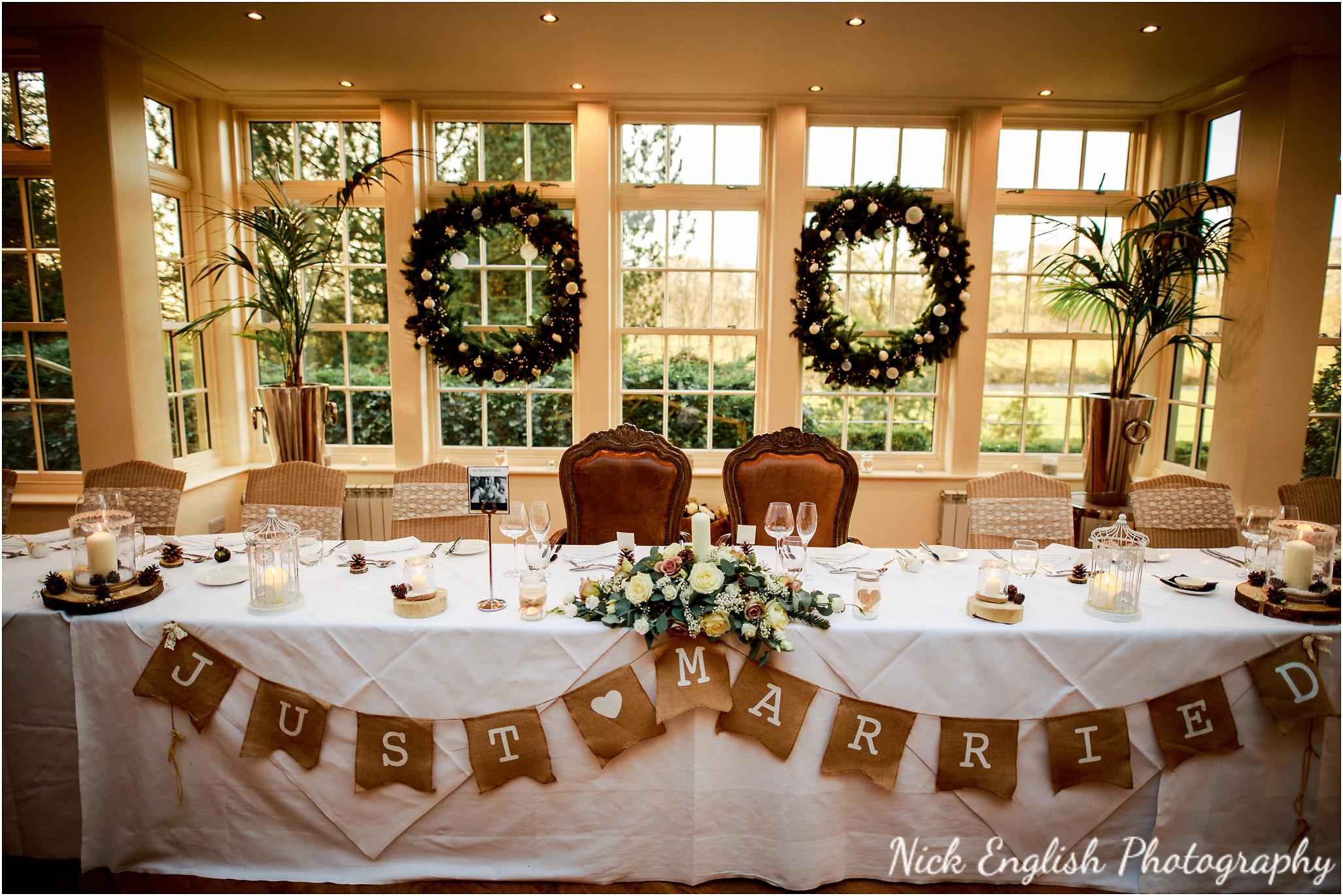 Mitton Hall Wedding Breakfast Room at Christmas