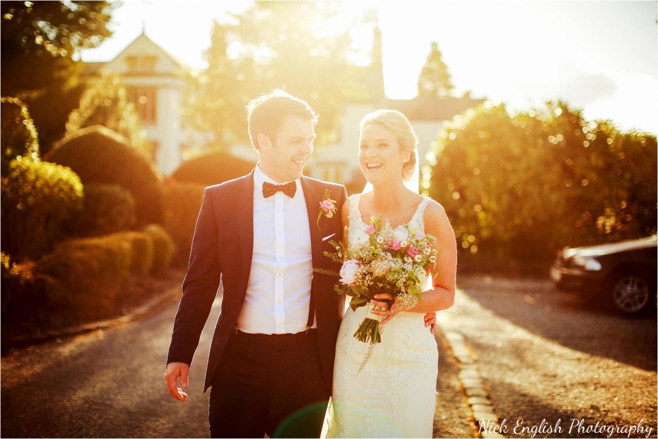 Mitton Hall Bride & Groom sunset walk
