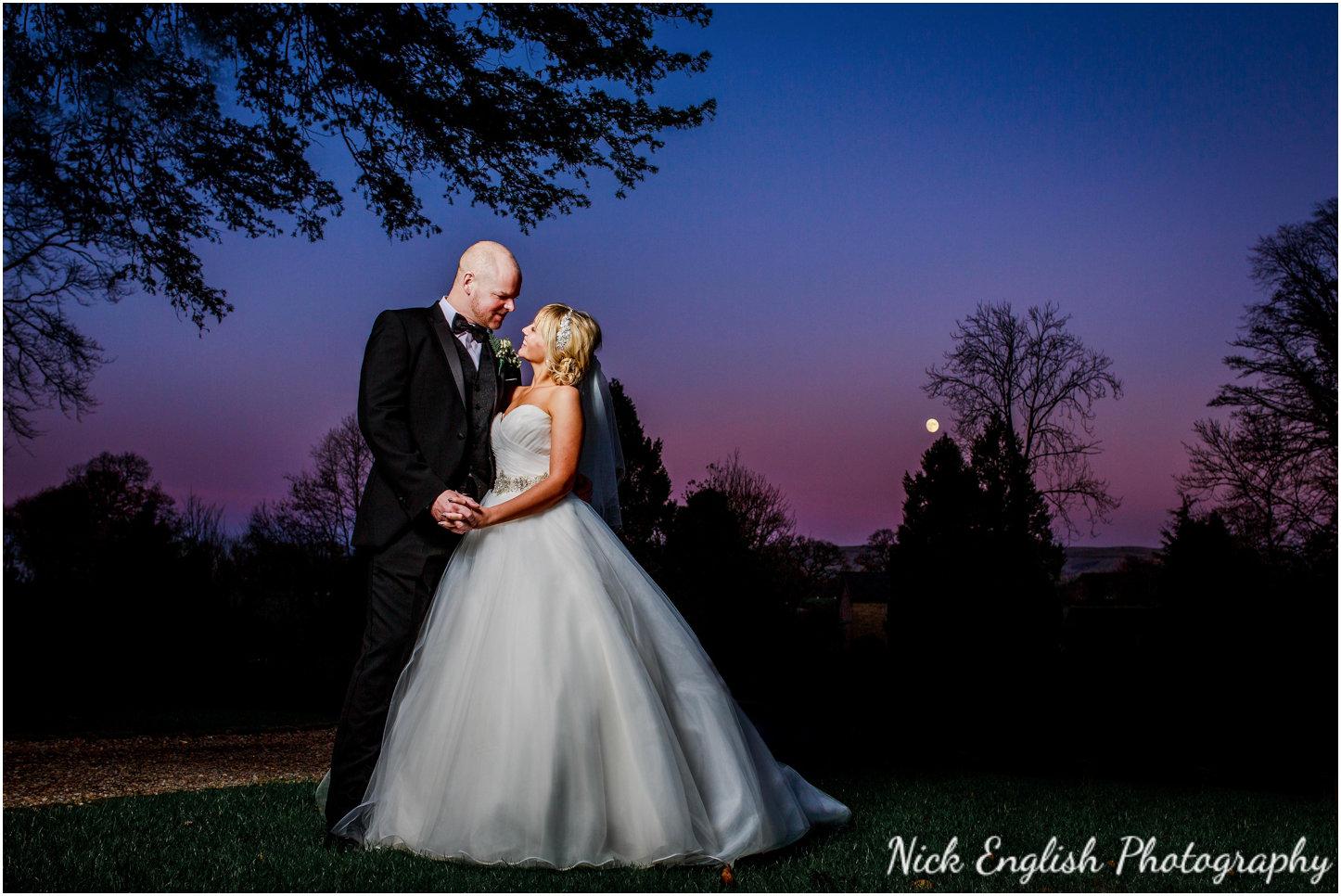 Bride Groom portrait Mitton Hall Wedding Night Photograph