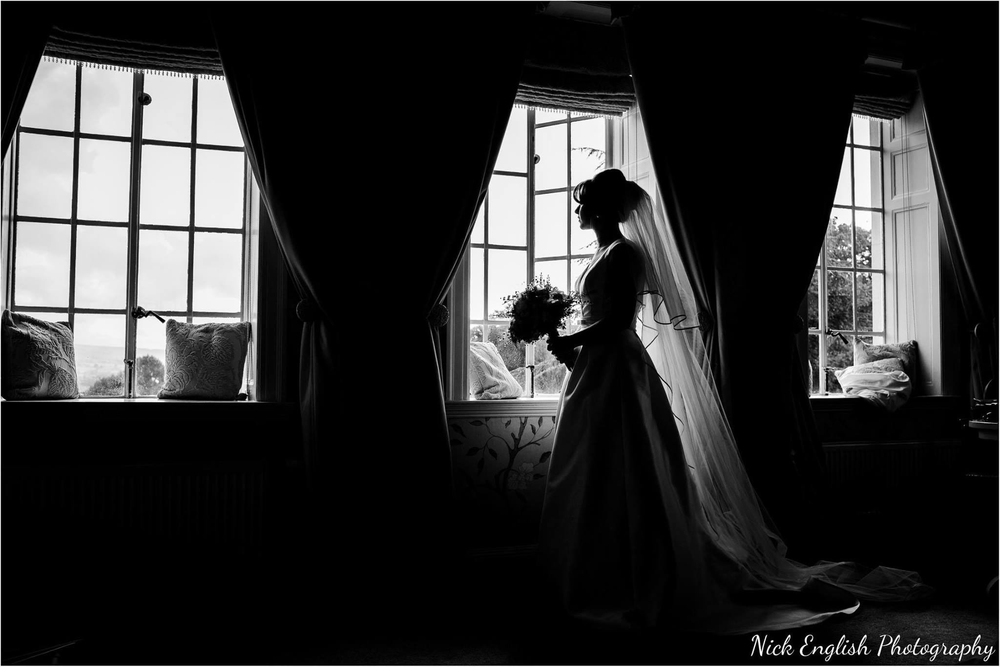 Canon 5D3 + 35L @ f2.8 - little bit of colour fringing here where the bouquet intersected with the window - fixed in the colour version - but I prefer B&W here anyway :)