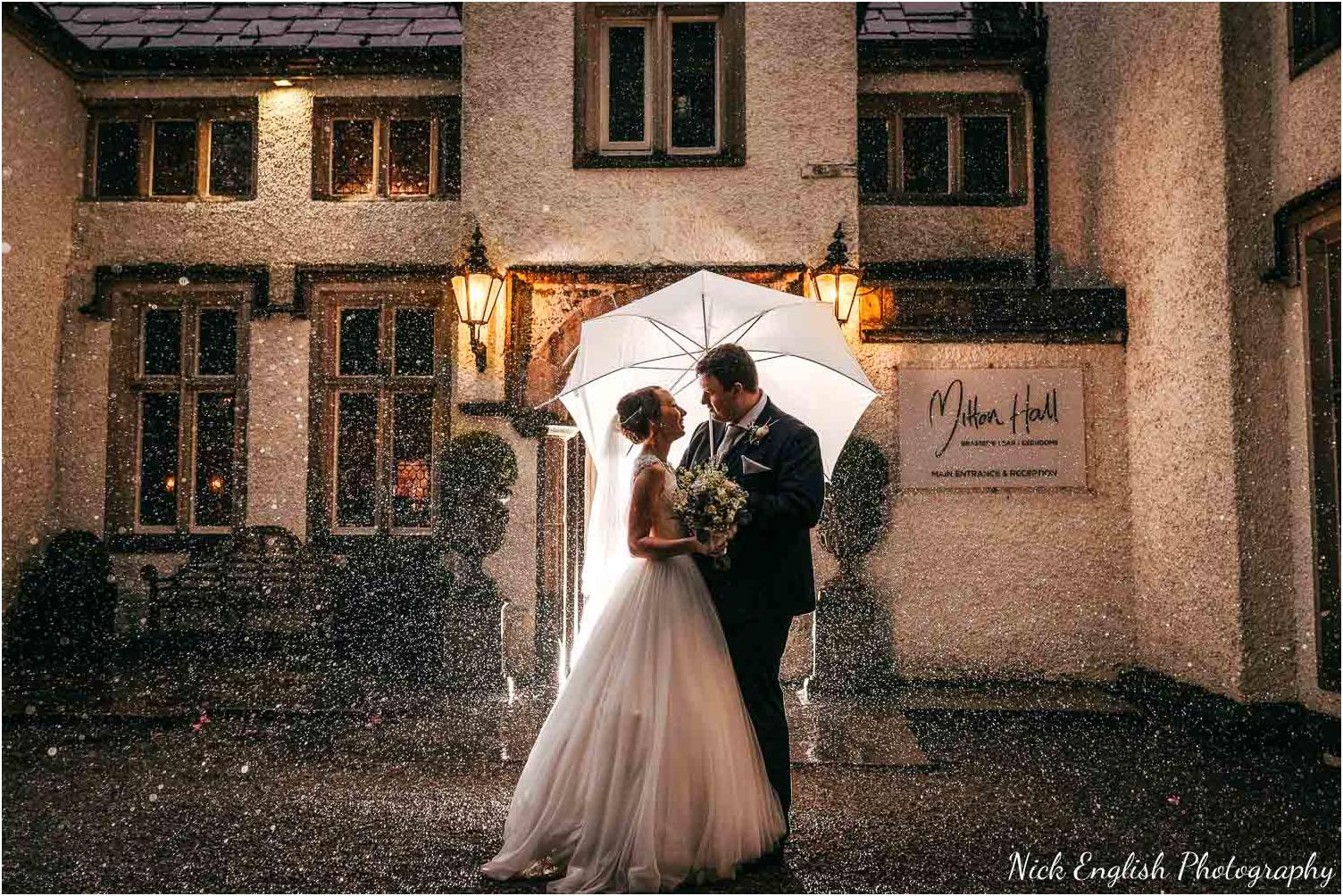 Mitton Hall Wedding Photographer Rain Umbrella Night