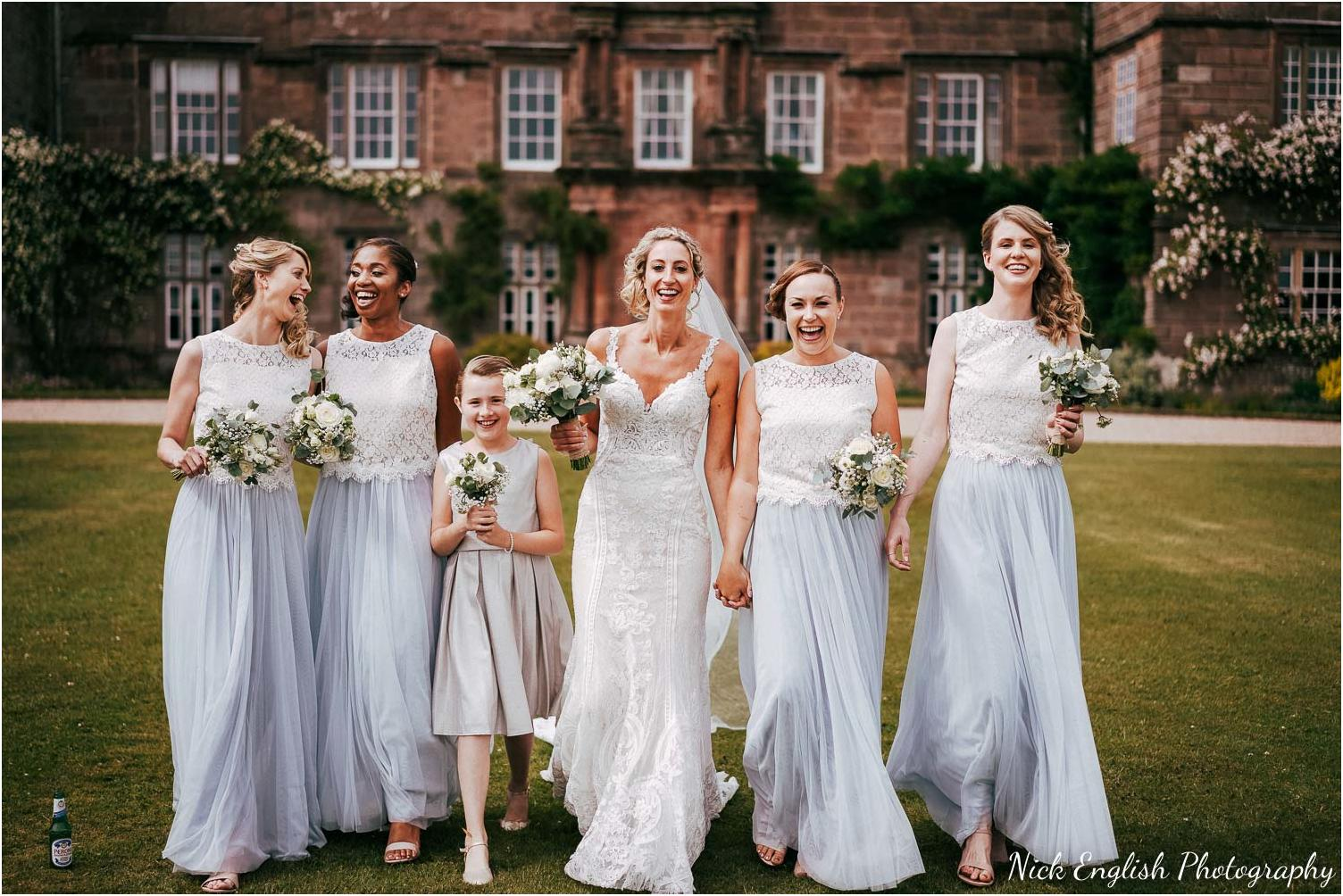 bridal party group photograph infront of browsholme hall