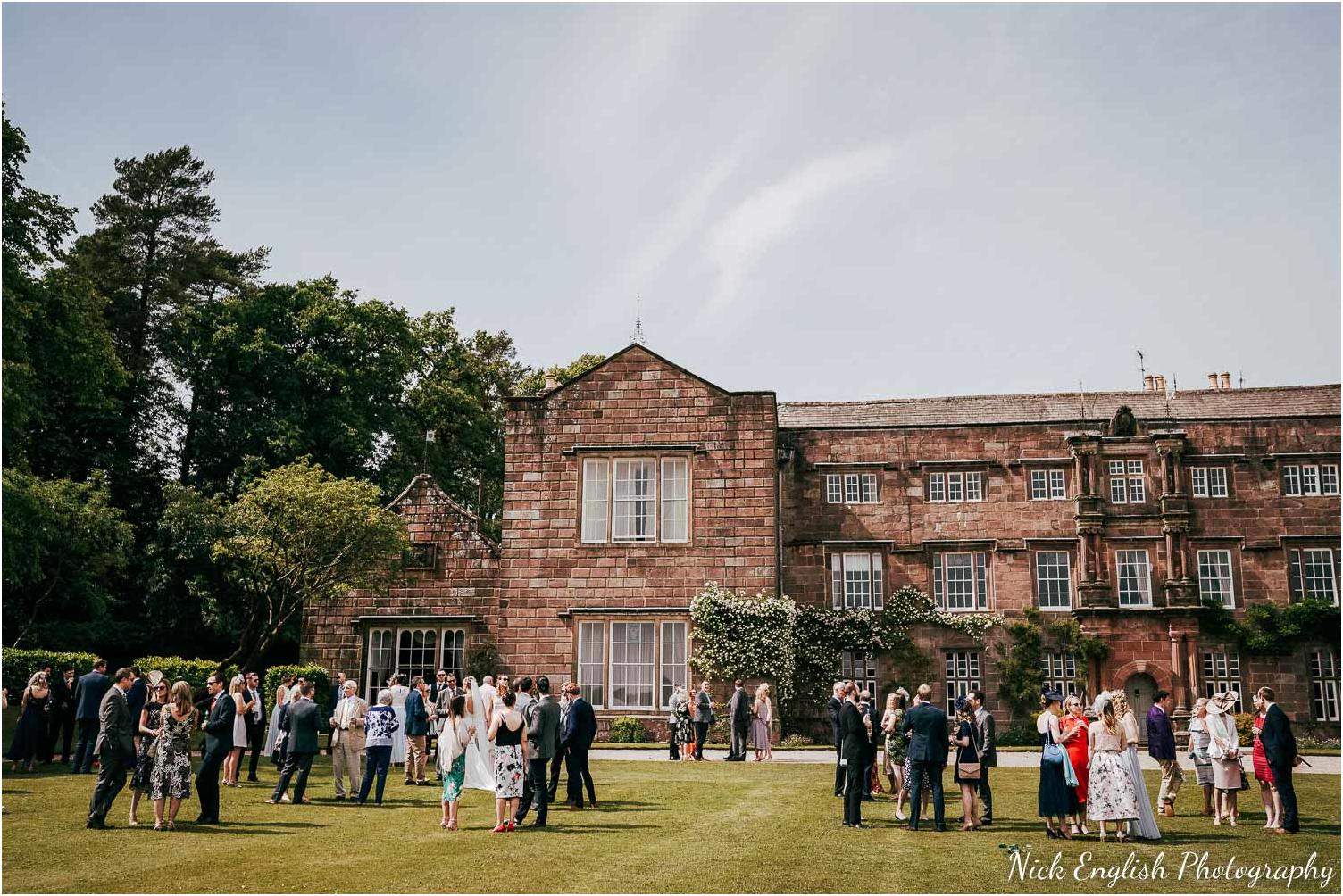 wedding reception on lawn infront of browsholme hall