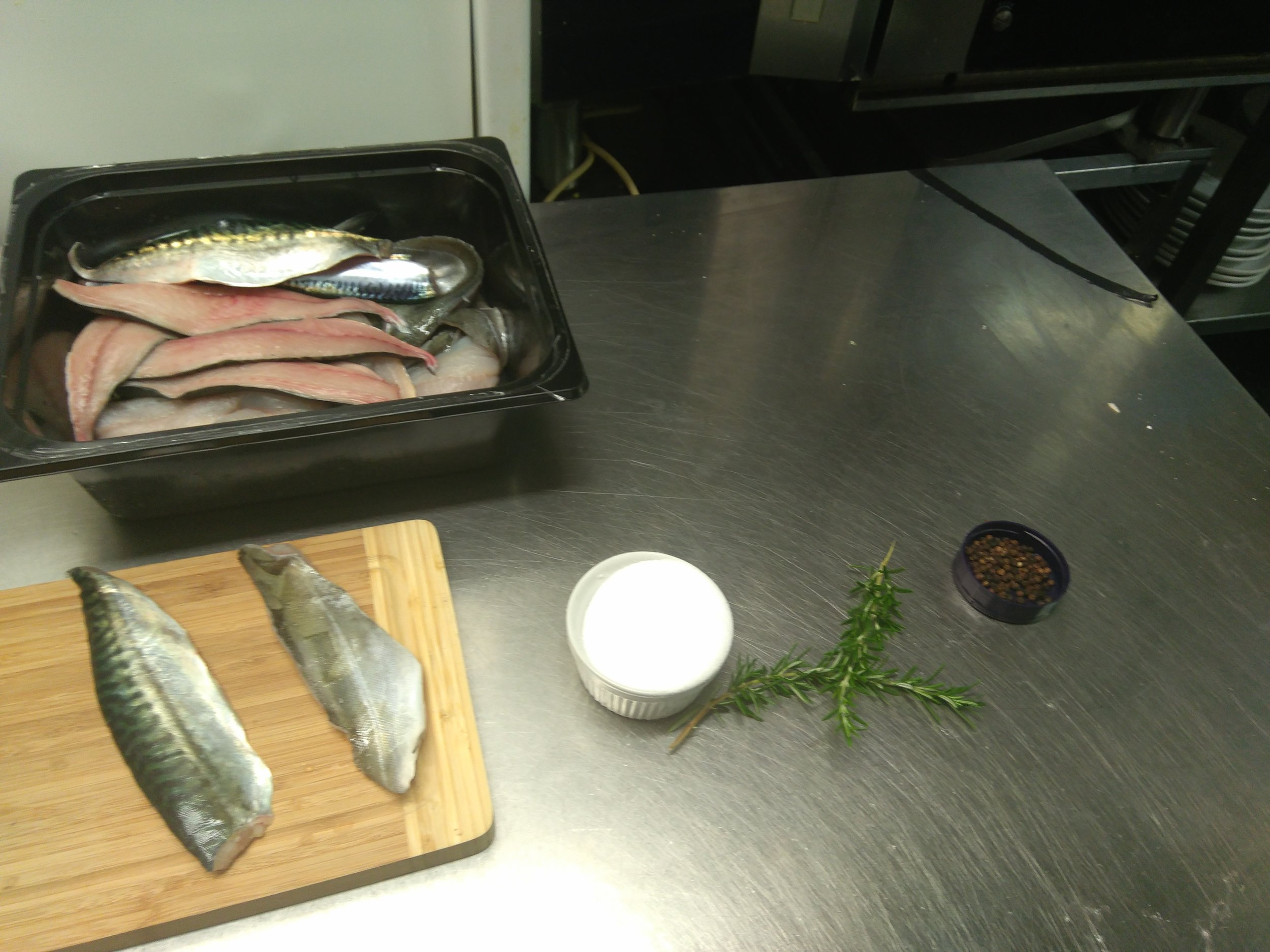 Getting ready to brine and cured the fish.