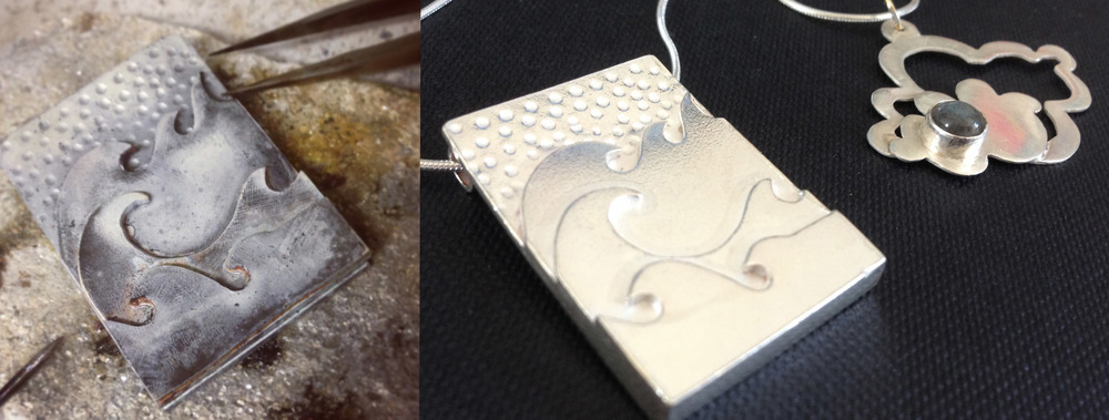 'The elements' pendants by Katie Wall. The Sea and the Sky, where better to look for inspiration?
