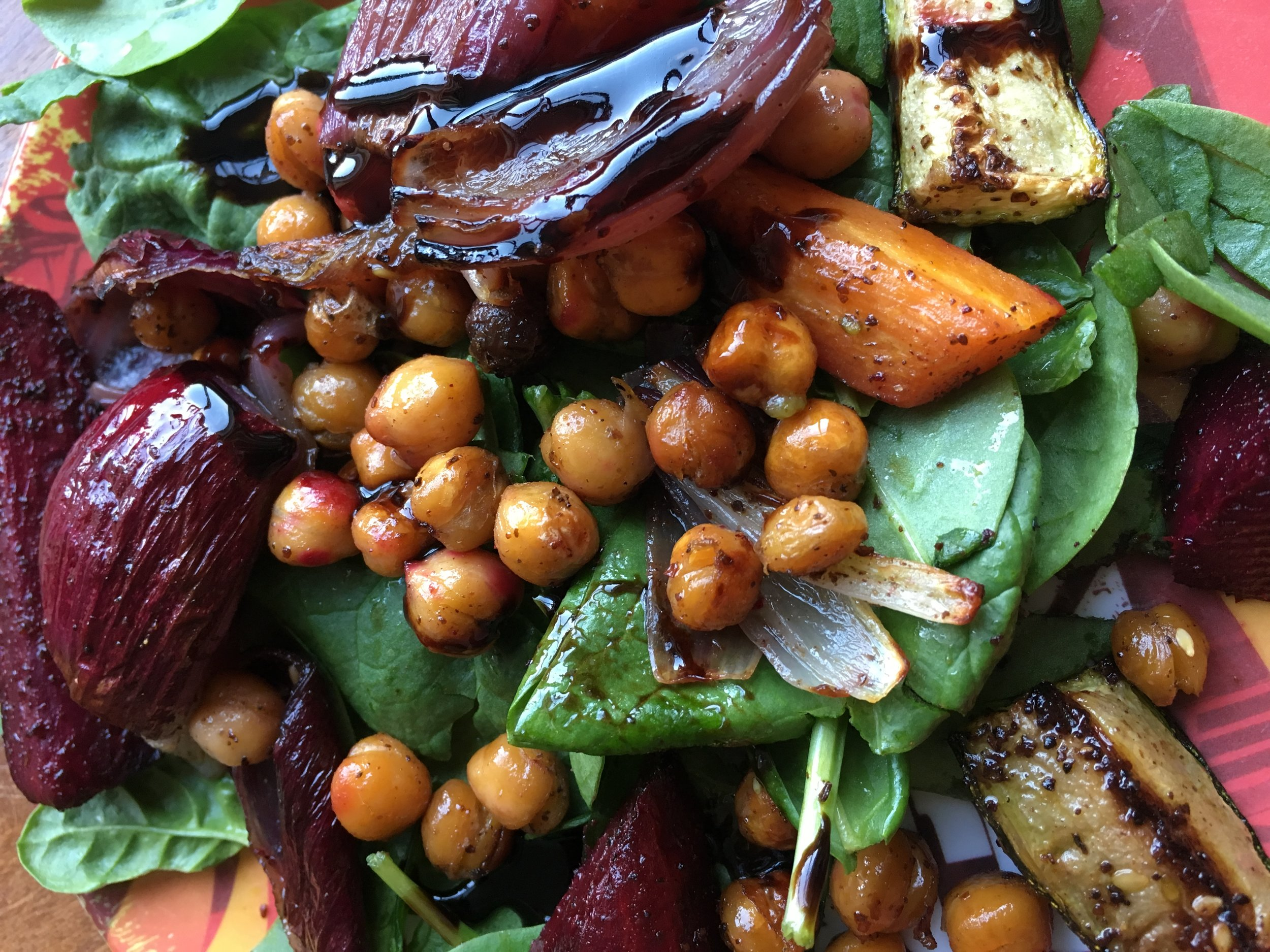 roasted vegetables and chickpeas with balsamic dressing - simple one pan wonder for mid-week