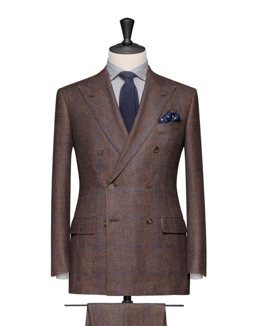 Double Breasted Brown Blue Suit