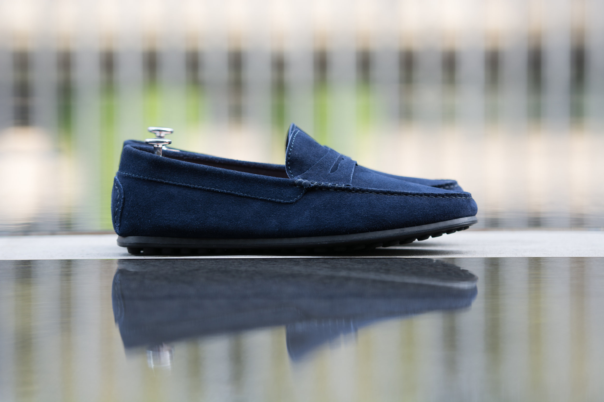 Casual Blue Suede Penny Driving Loafer