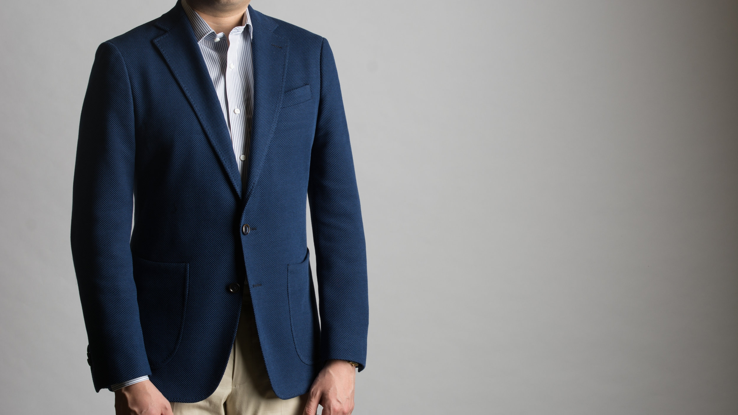 Mid-blue honeycomb stretch blazer